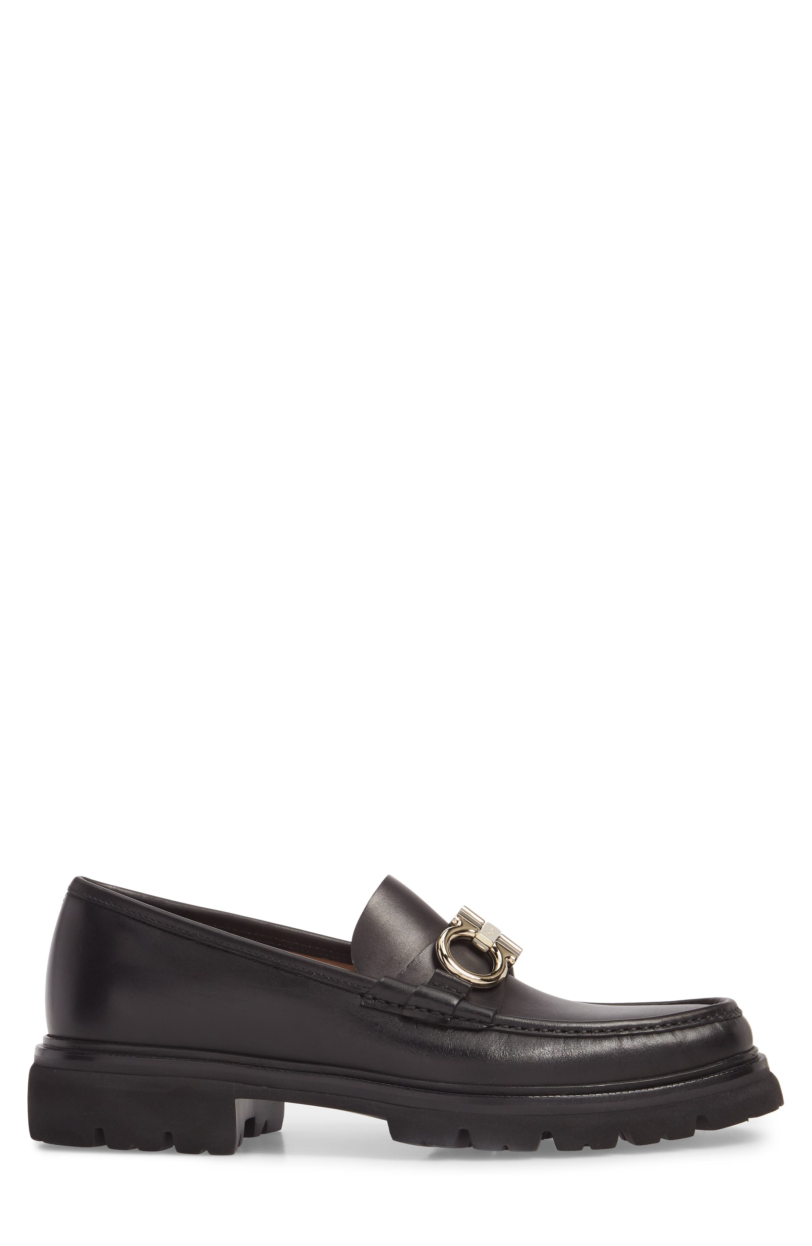 Bleecker Reversible Bit Lugged Loafer,                             Alternate thumbnail 3, color,                             NERO LEATHER