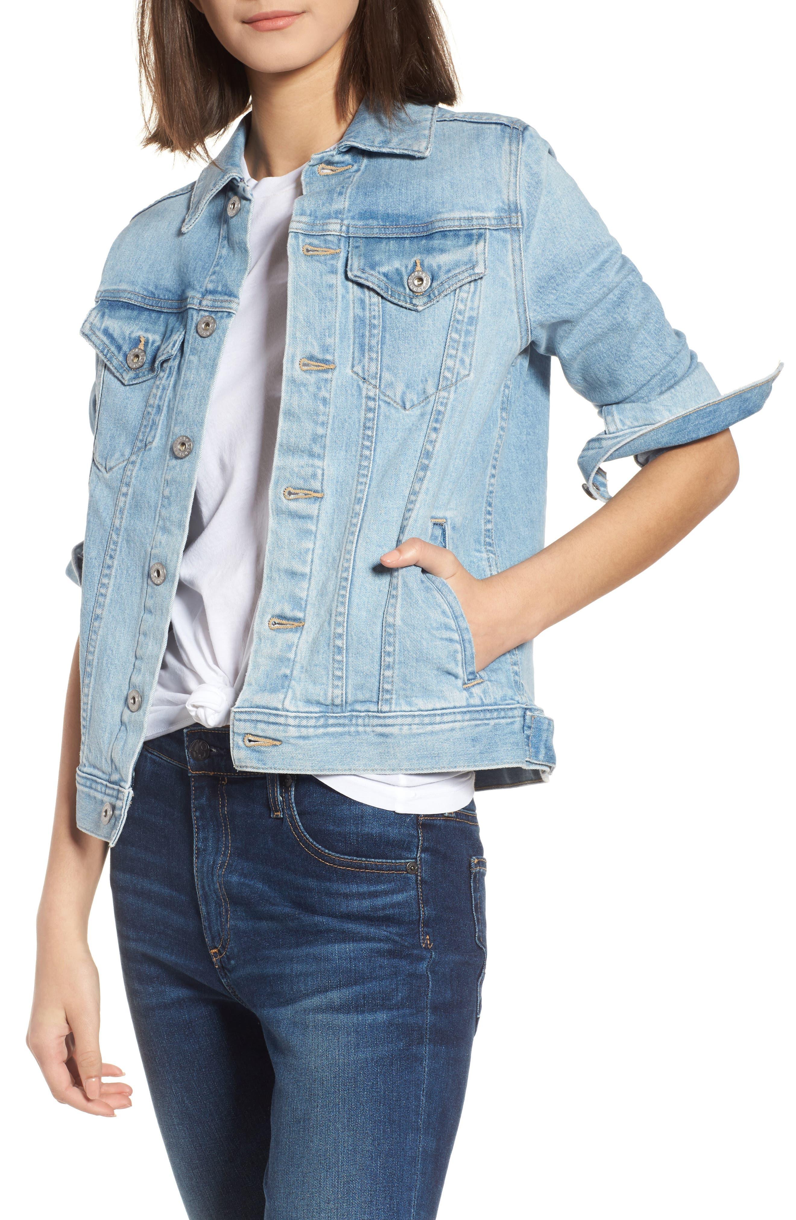 Mya Denim Jacket,                         Main,                         color, SUNLIGHT BLUE