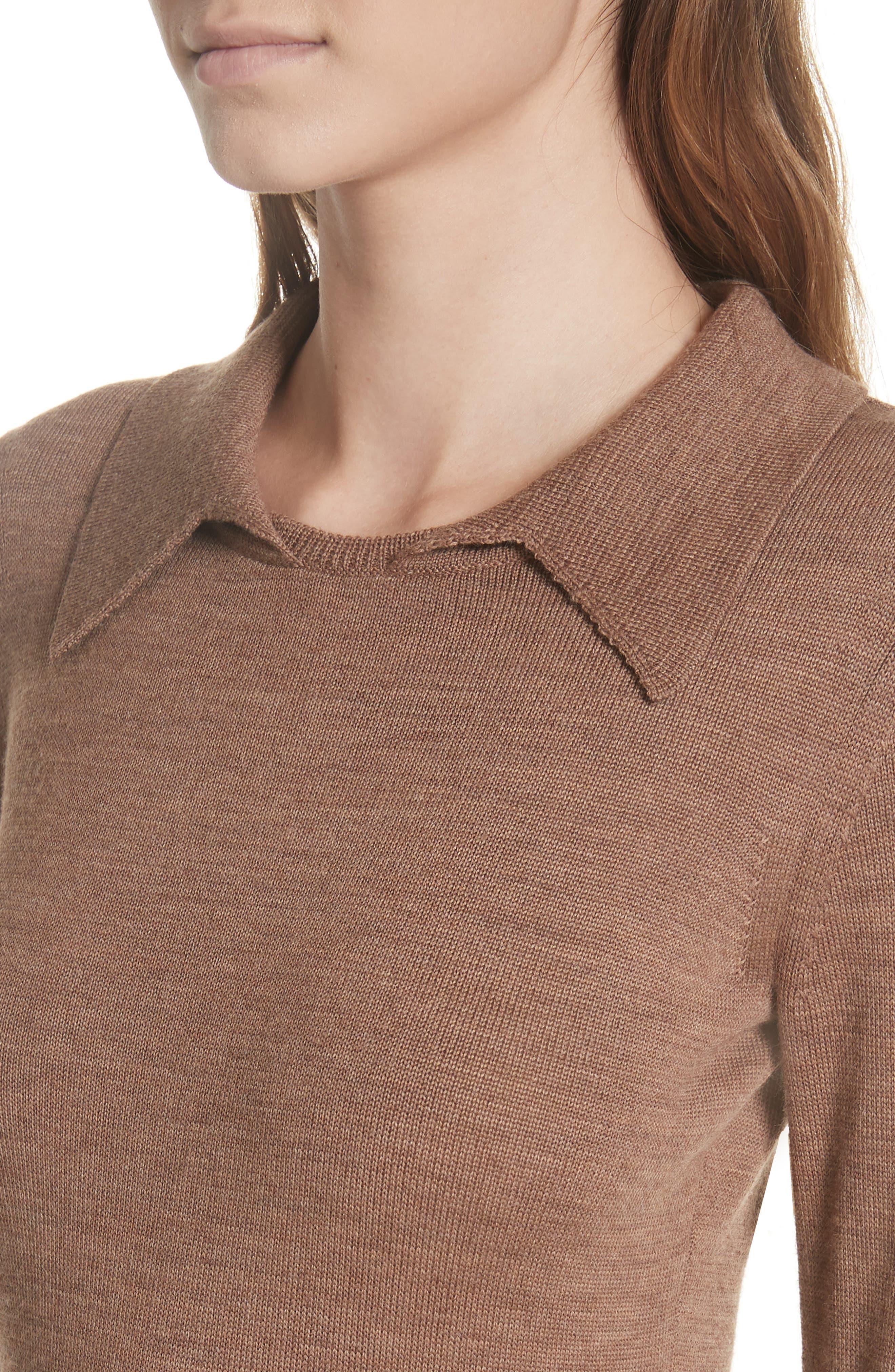 Merino Wool Blend Polo Sweater,                             Alternate thumbnail 4, color,                             200