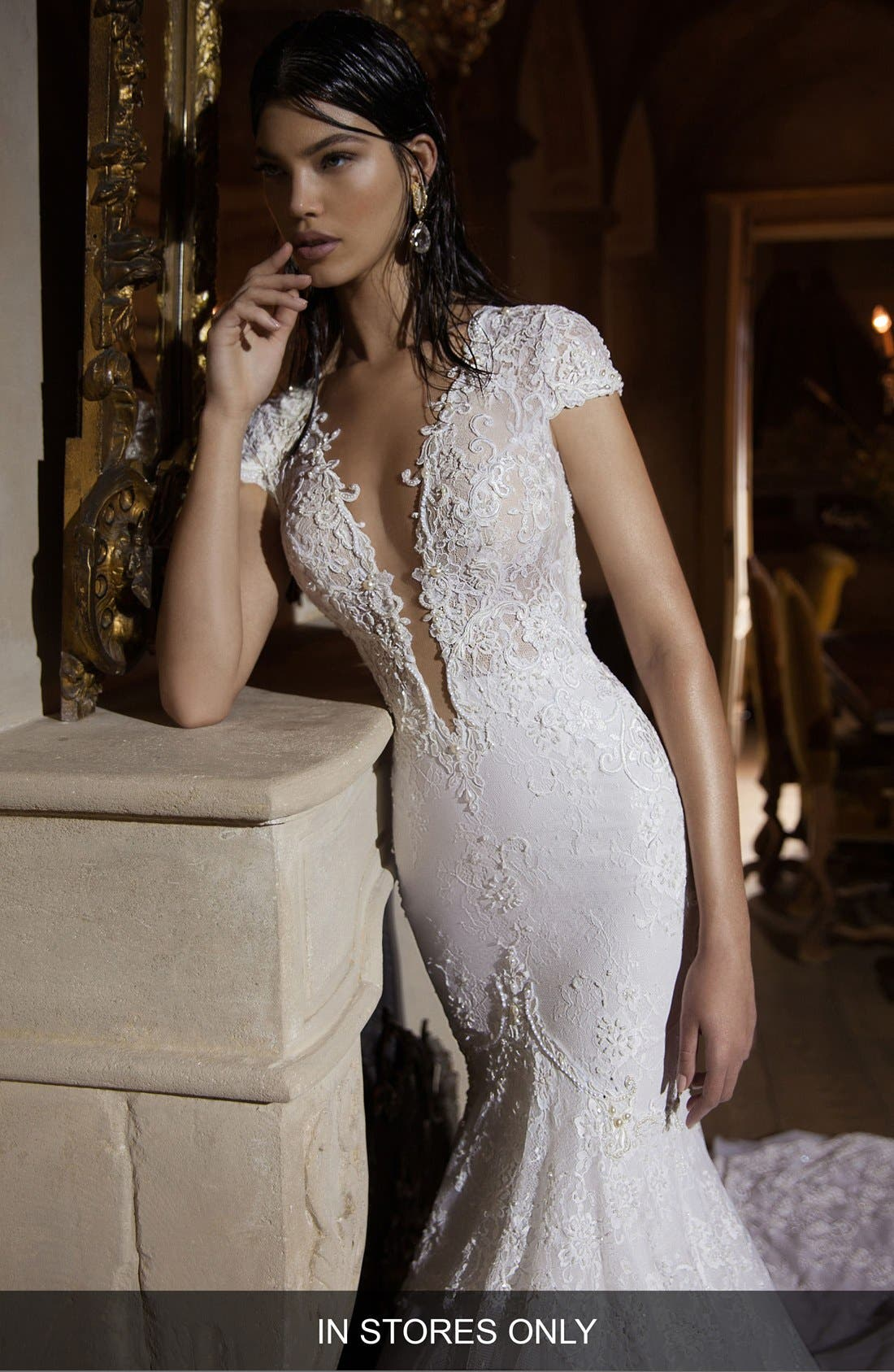 Plunging V-Neck Cap Sleeve Lace Mermaid Gown,                             Main thumbnail 1, color,                             IVORY