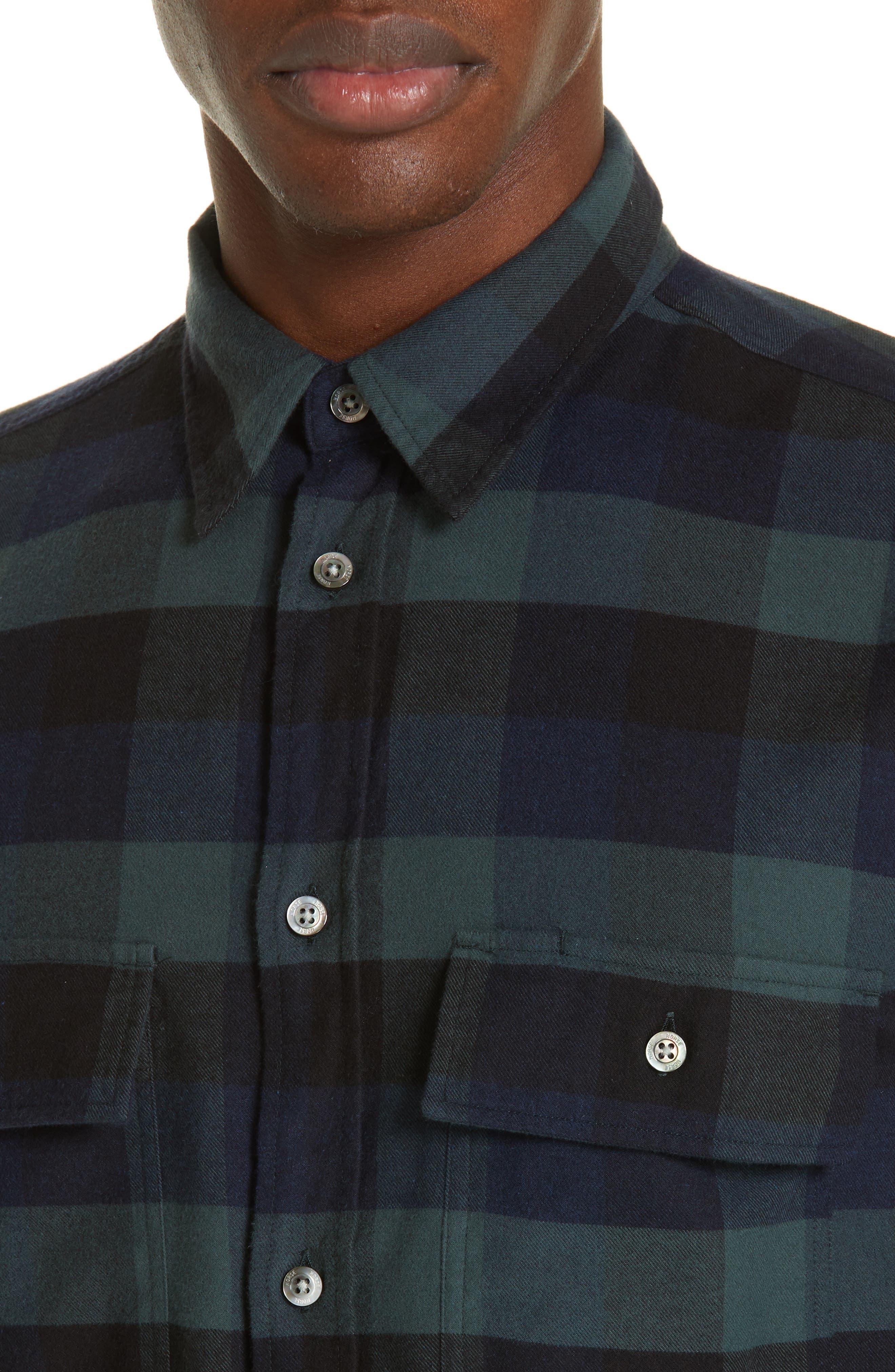 Villads Check Brushed Flannel Shirt,                             Alternate thumbnail 2, color,                             DARK NAVY