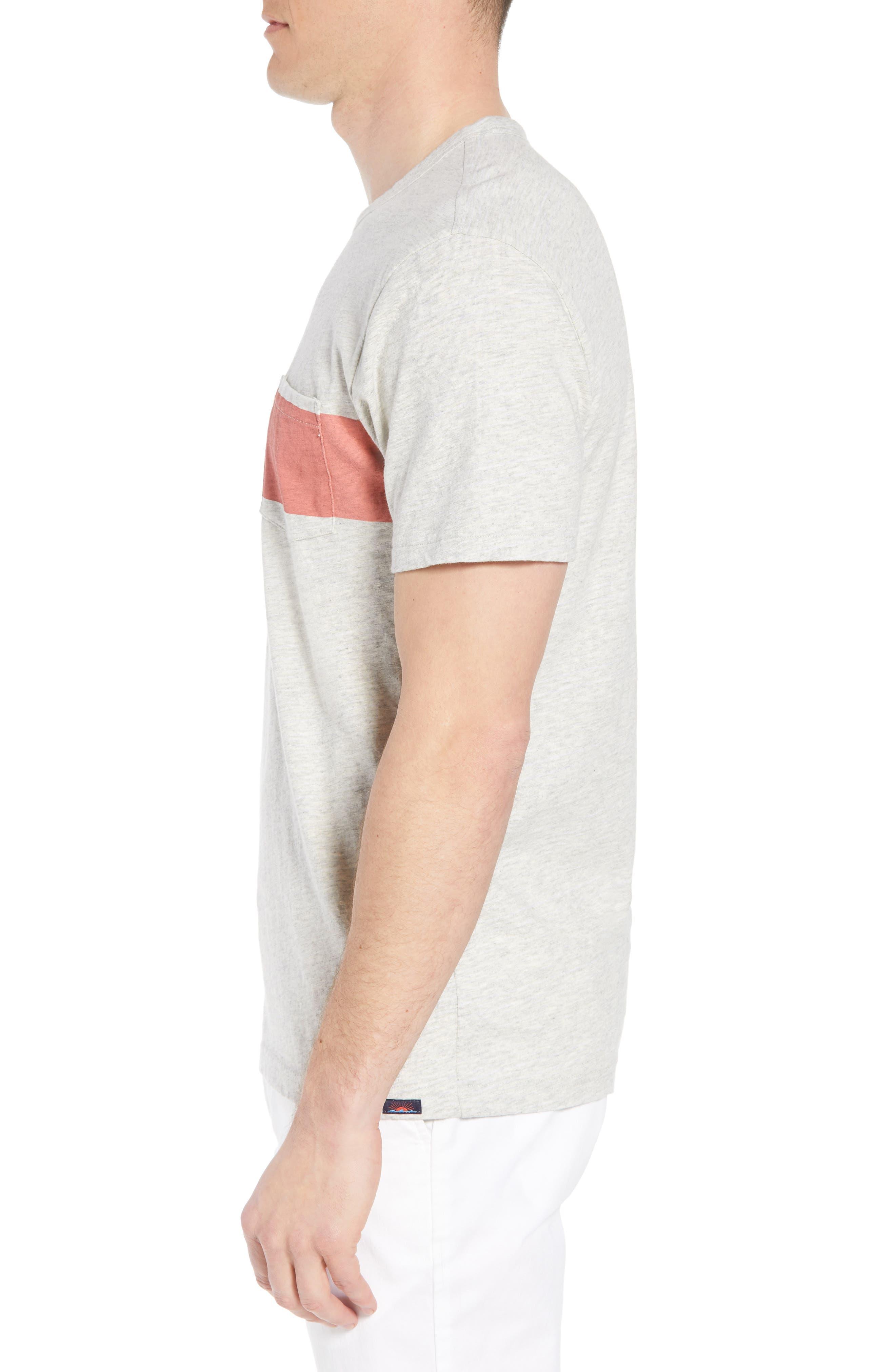 Chest Stripe Pocket T-Shirt,                             Alternate thumbnail 3, color,                             HEATHER GREY STRIPE
