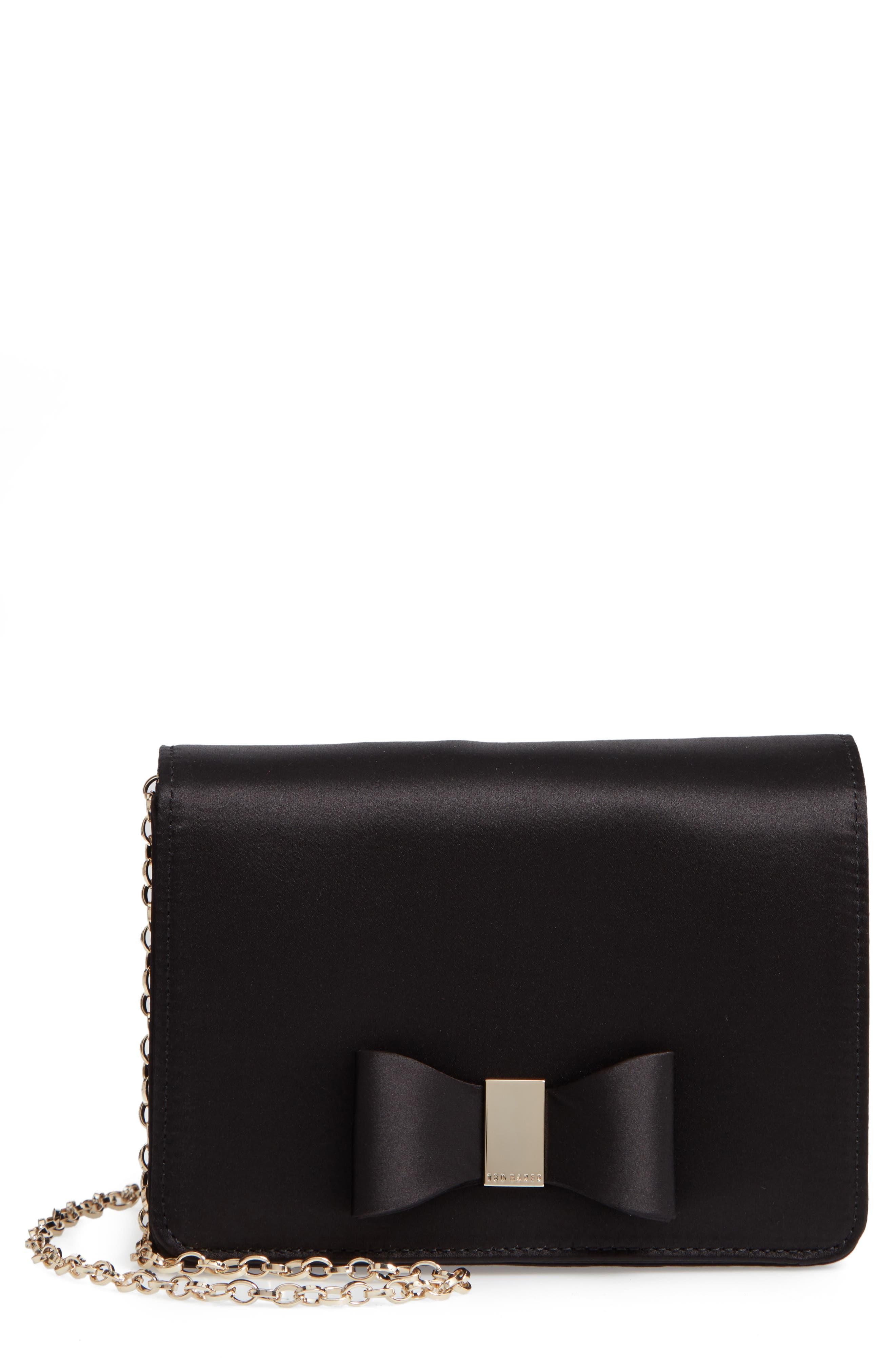 Eveelyn Bow Satin Evening Bag,                             Main thumbnail 1, color,                             BLACK