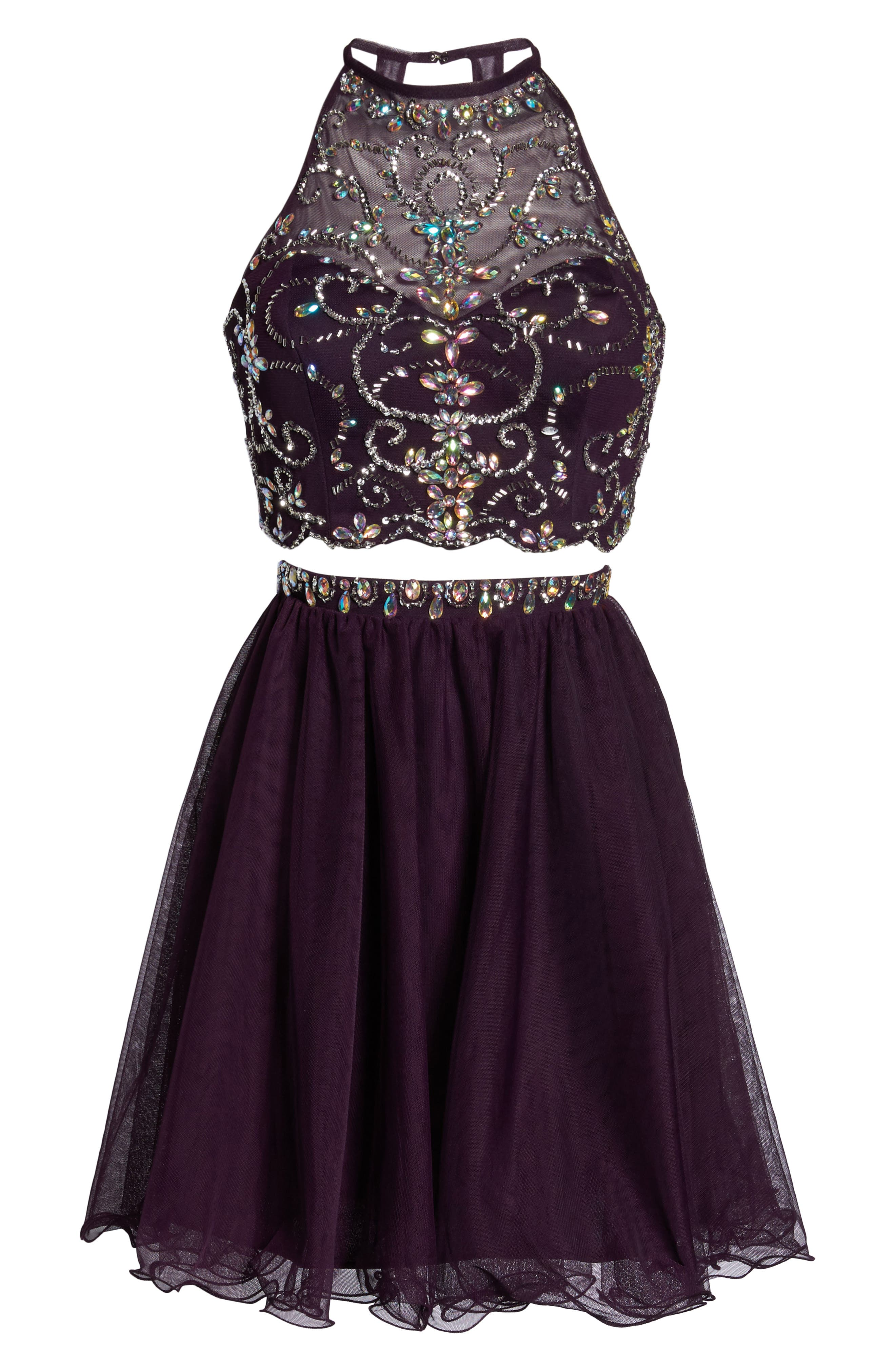 Embellished Two-Piece Fit & Flare Dress,                             Alternate thumbnail 6, color,                             510