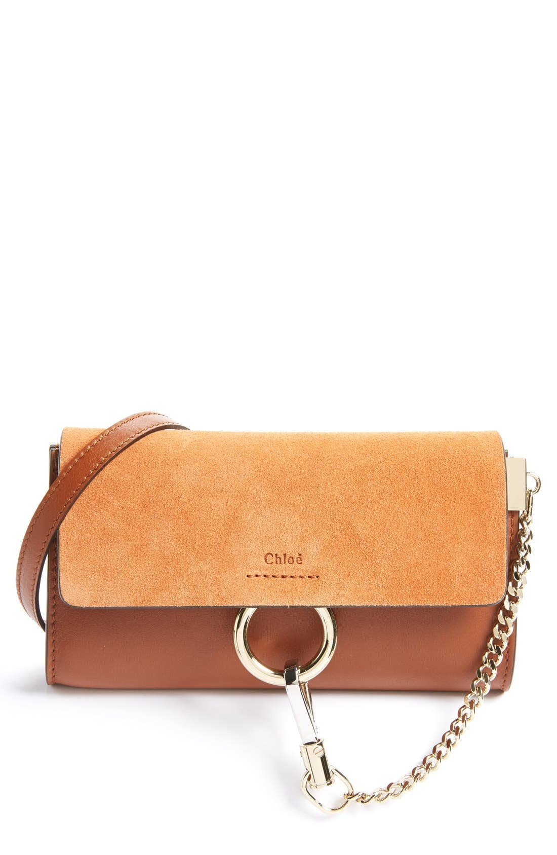 Mini Faye Suede & Leather Wallet on a Chain,                             Alternate thumbnail 2, color,                             CLASSIC TOBACCO