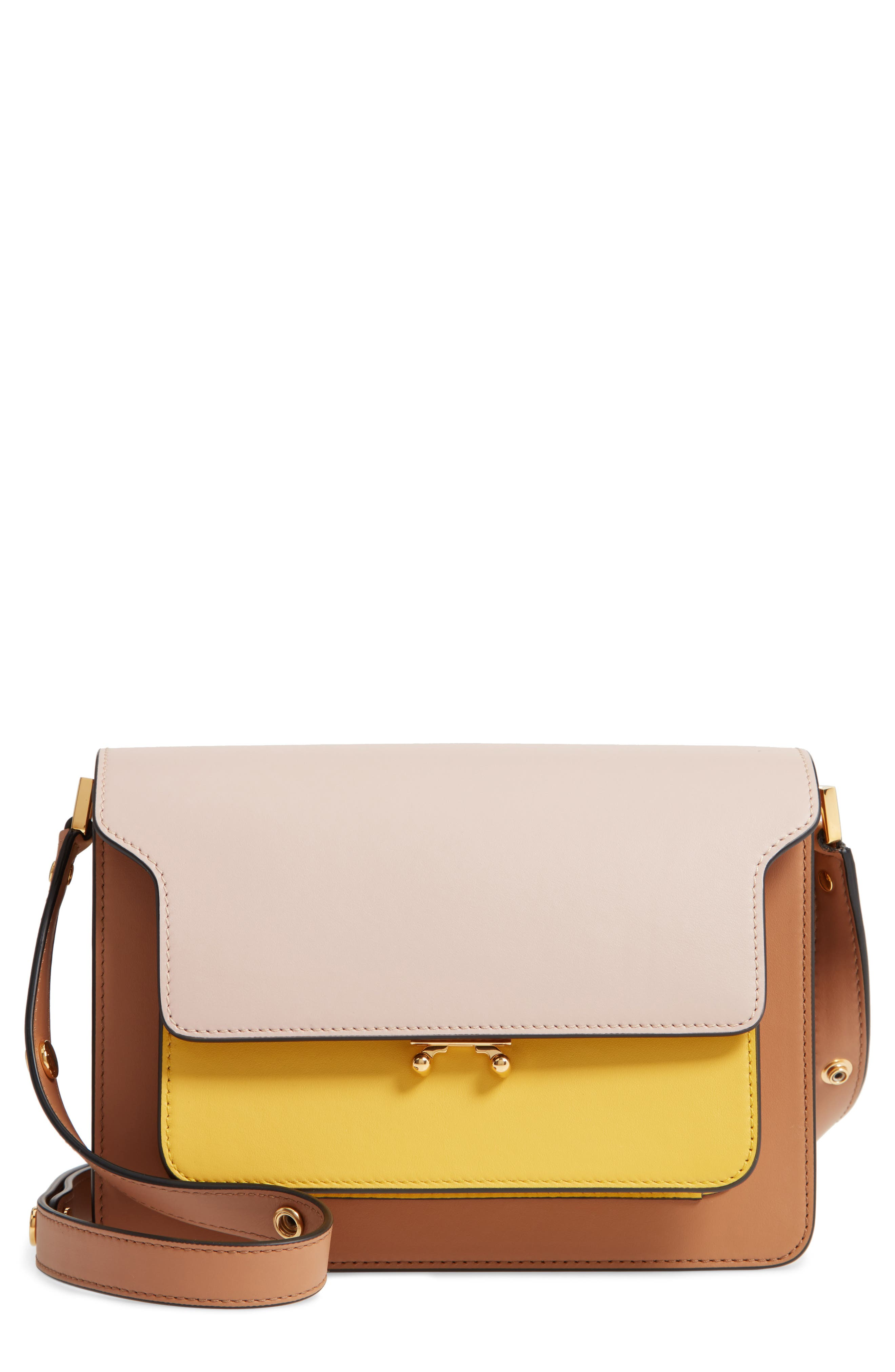 MARNI Trunk Colorblock Leather Shoulder Bag, Main, color, QUARTZ/ SUNO/ POMPEII