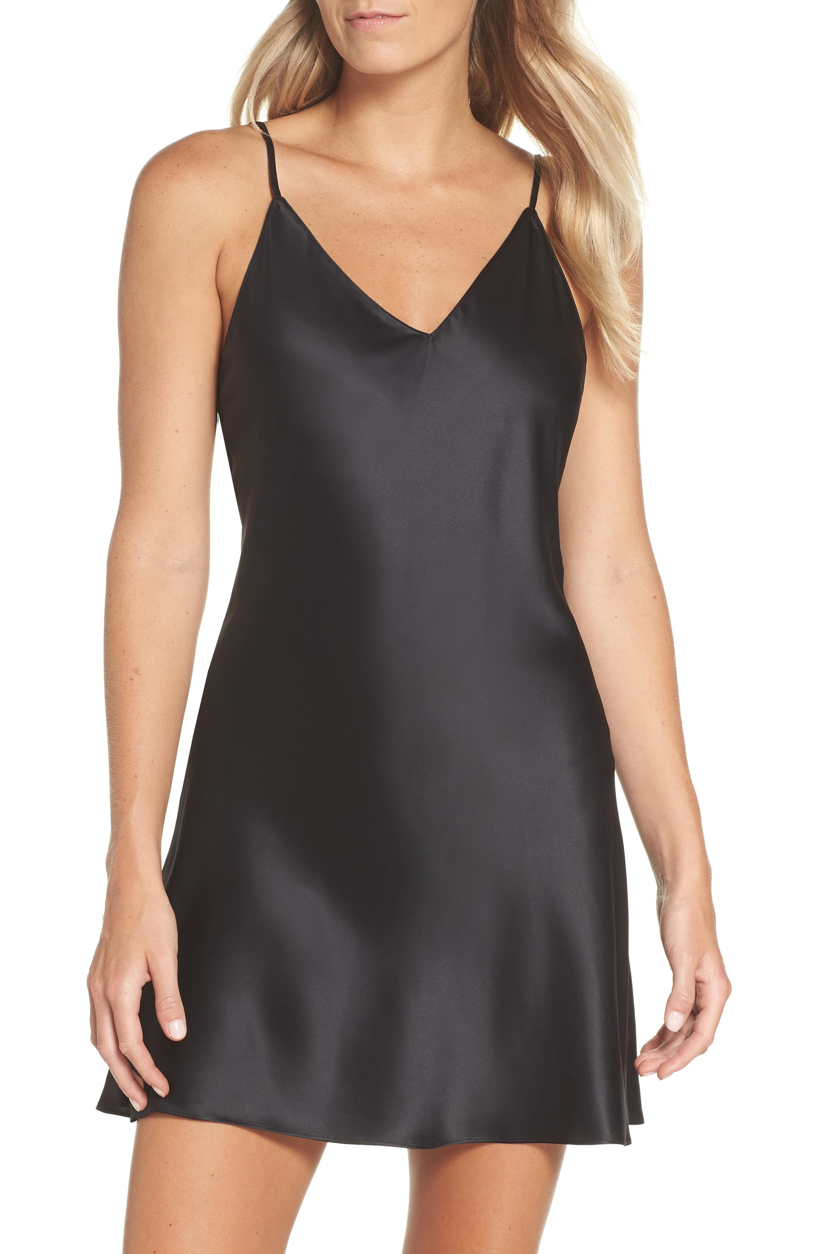 NATORI Feathers Satin Elements Chemise in Black