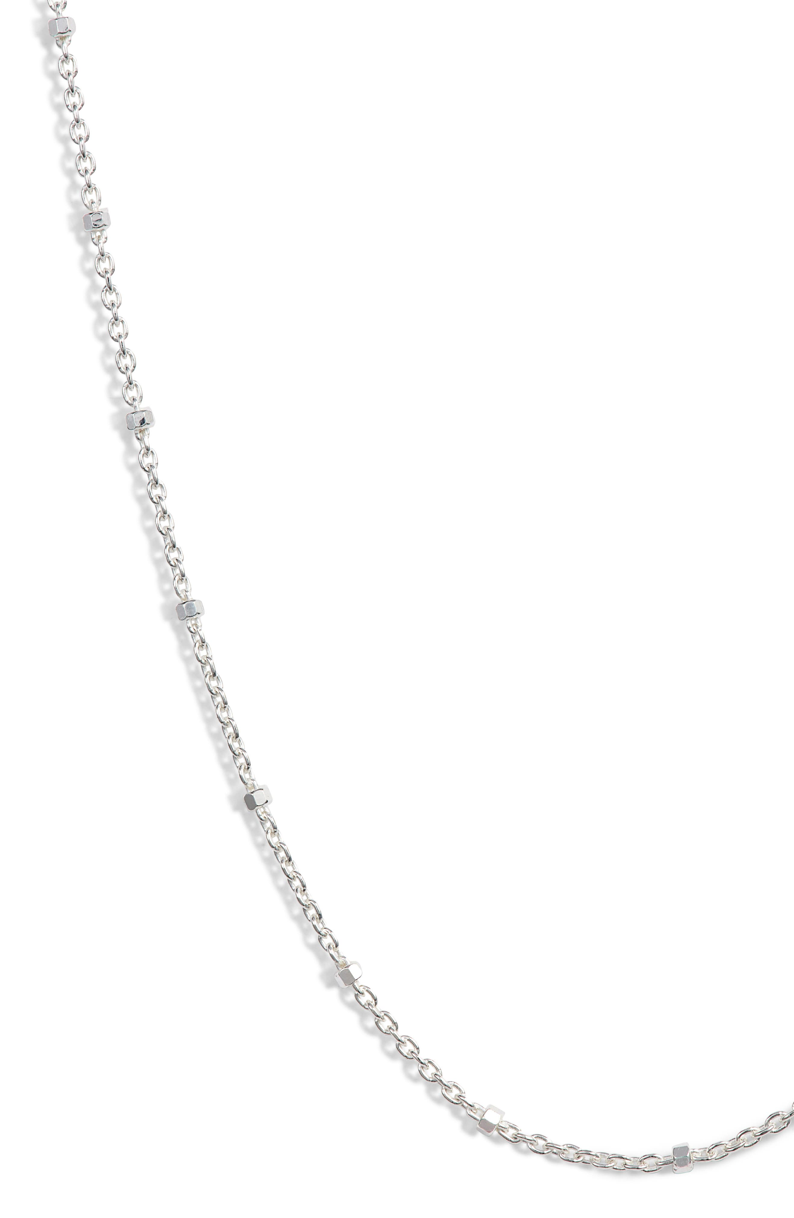 Cylinder Bead Necklace,                             Alternate thumbnail 2, color,                             SILVER