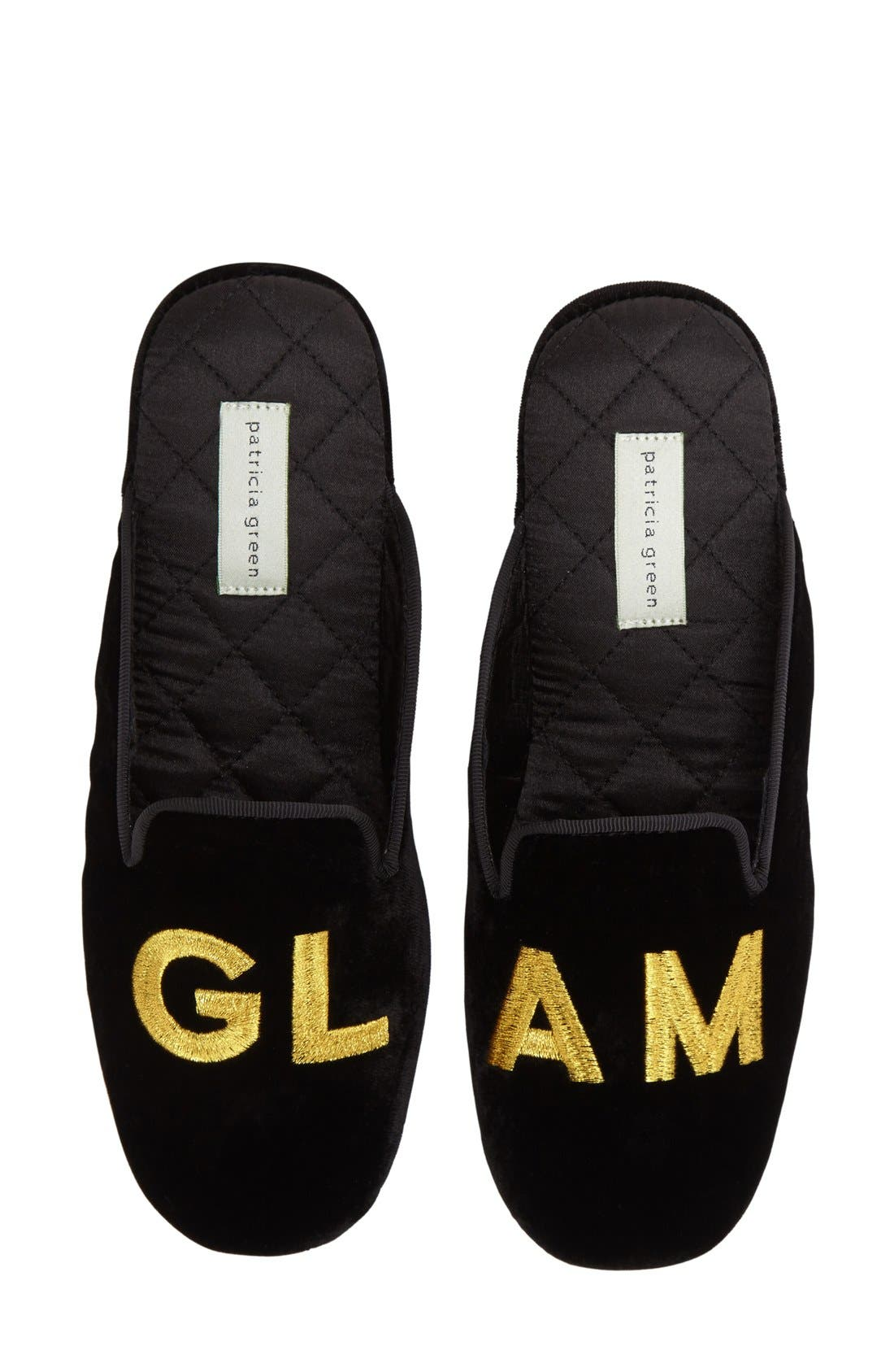 'Glam' Scuff Slipper,                         Main,                         color, BLACK VELVET