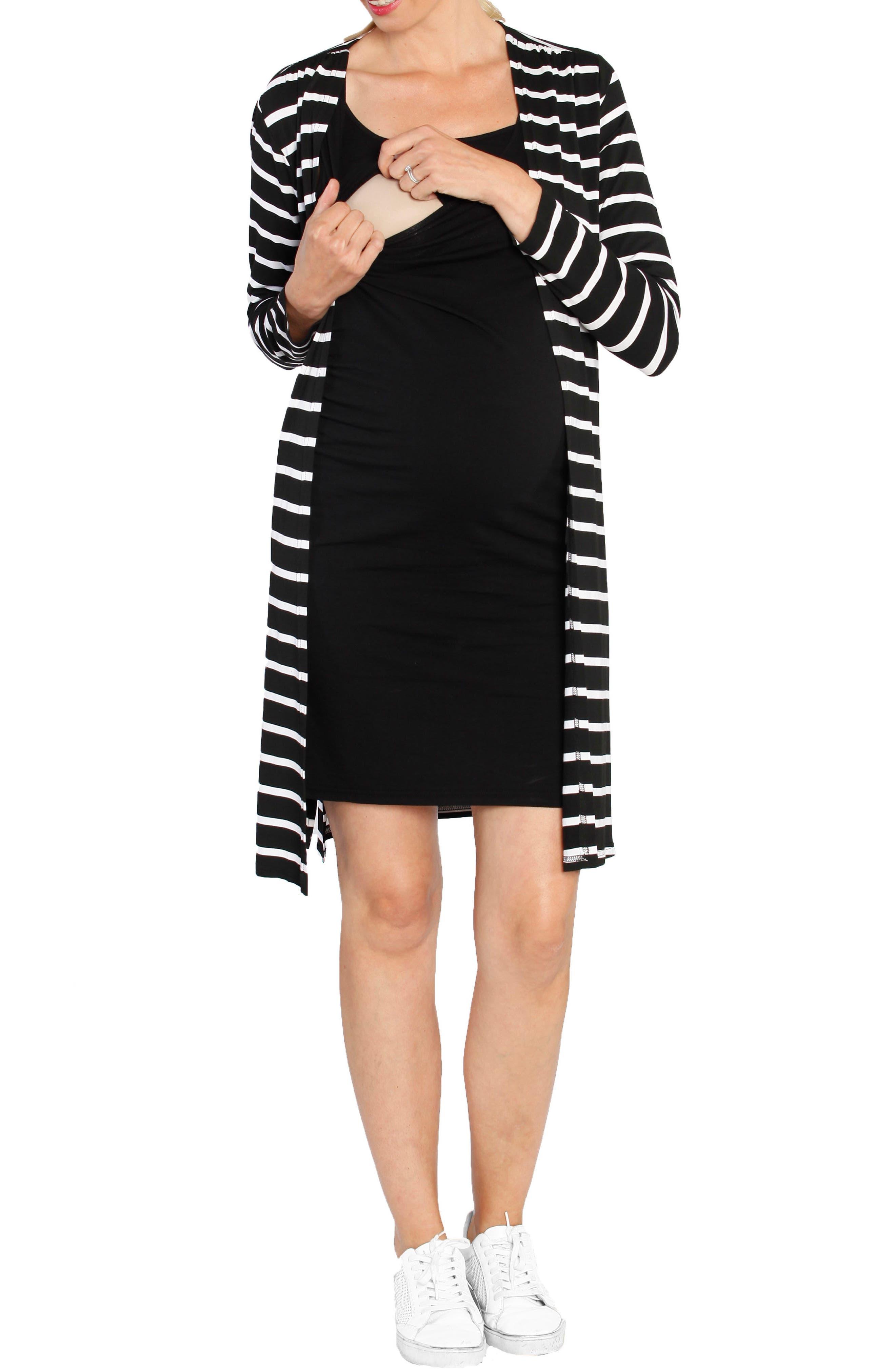 Maternity/Nursing Dress & Cardigan Set,                         Main,                         color, STRIPES