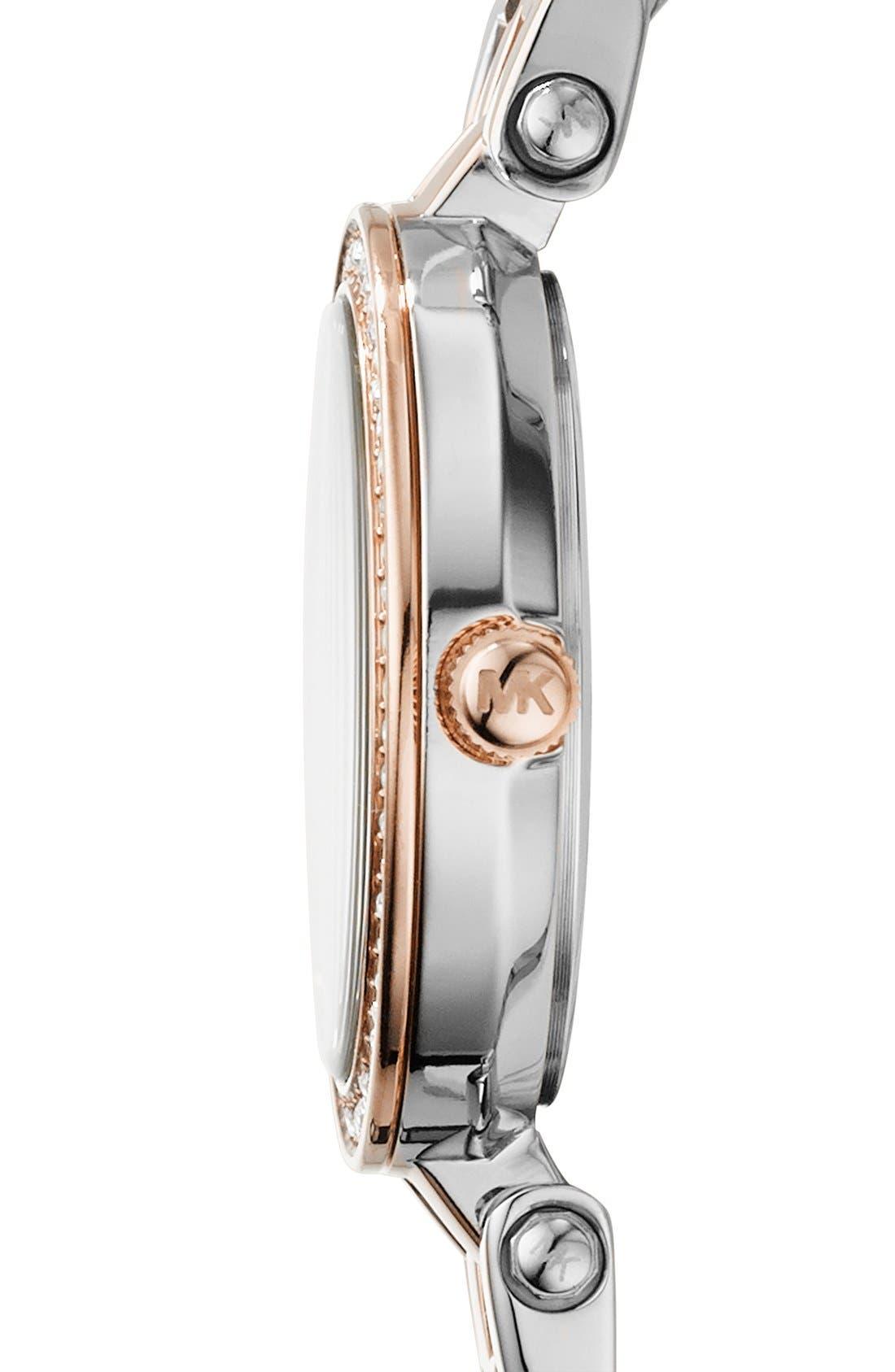 'Petite Darci' Crystal Bezel Bracelet Watch, 26mm,                             Alternate thumbnail 3, color,                             SILVER/ ROSE GOLD