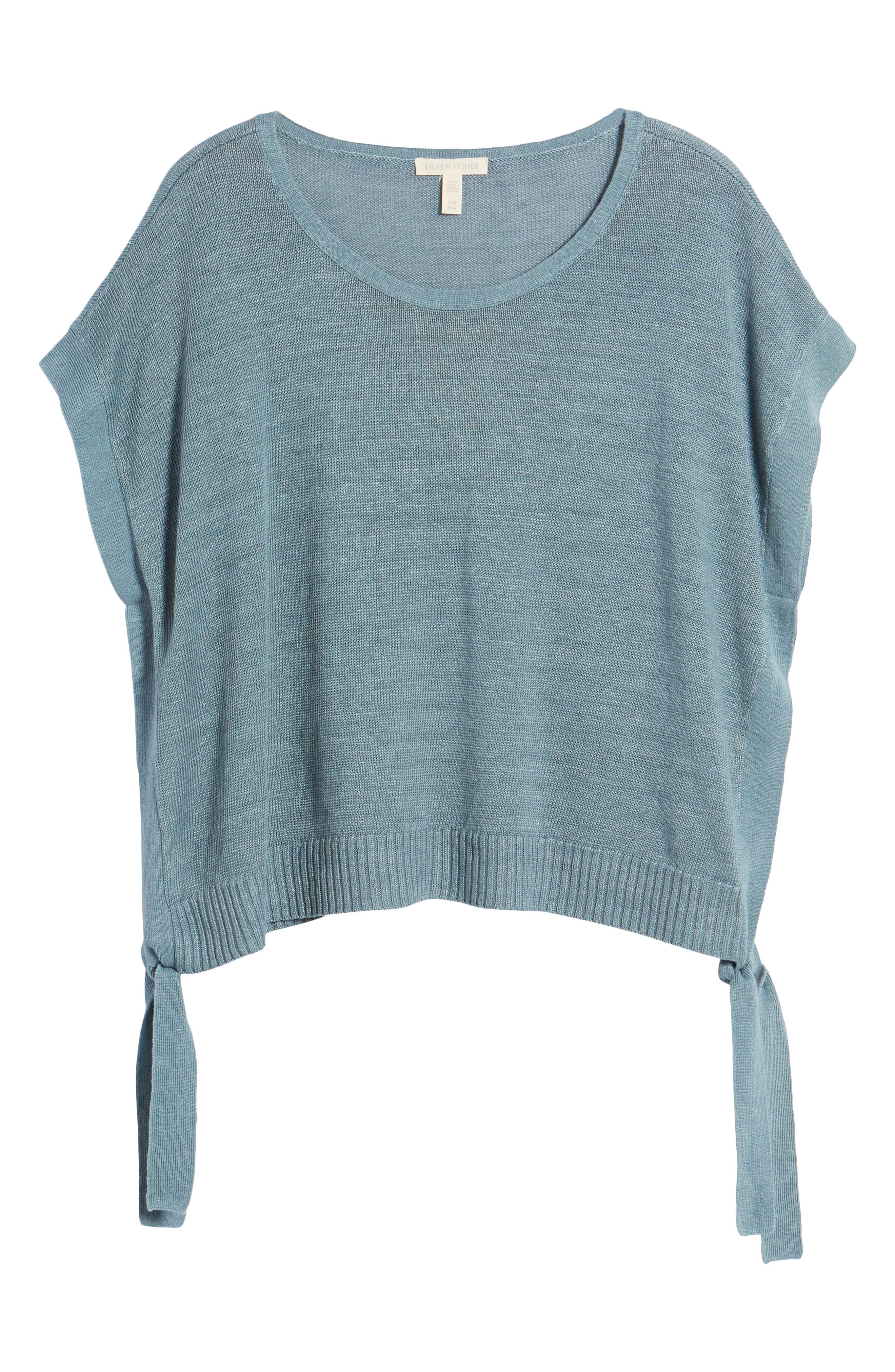 Short Organic Linen Poncho Top,                             Alternate thumbnail 30, color,