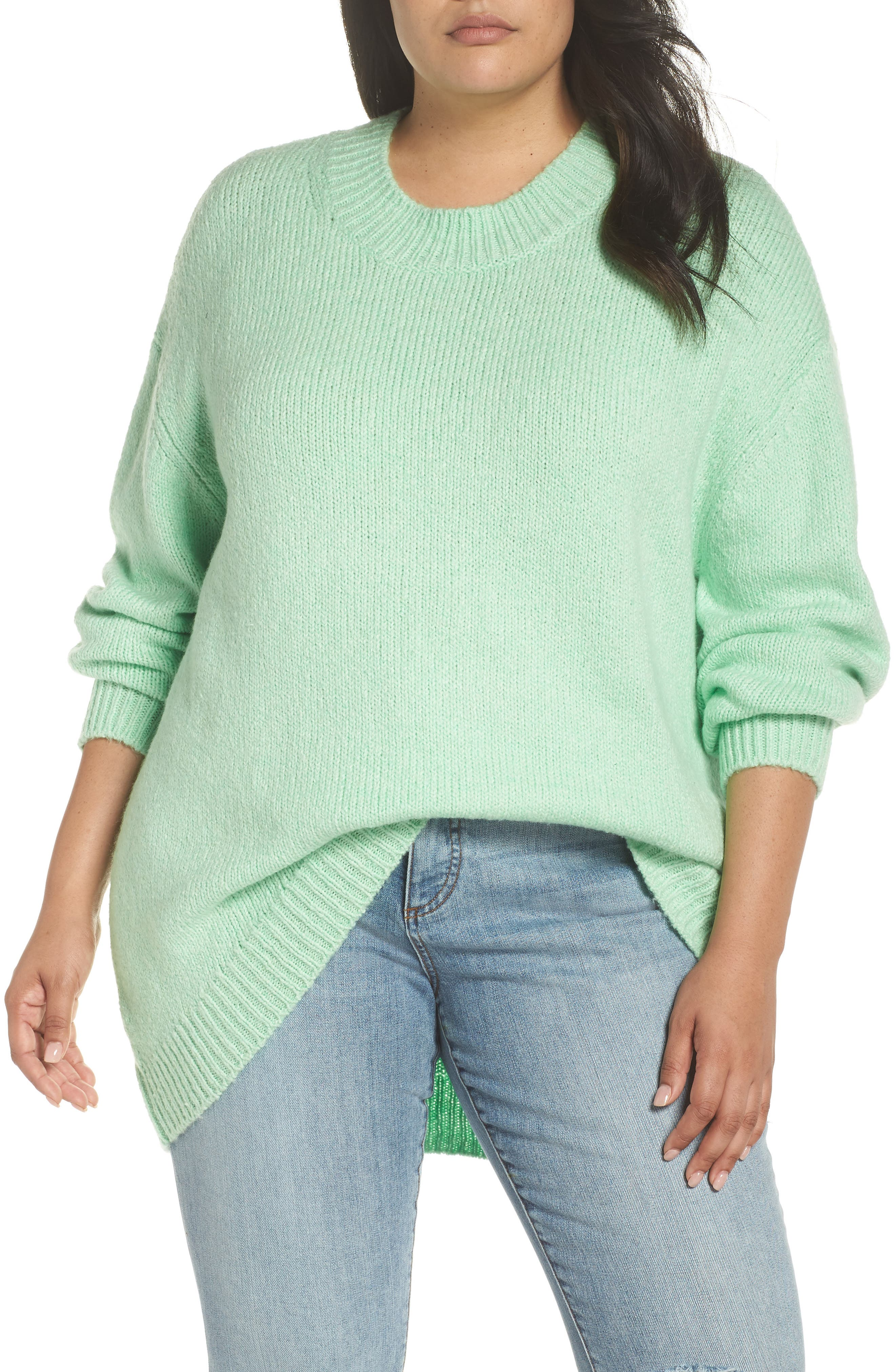 High-Low Sweater,                             Alternate thumbnail 2, color,                             GREEN ASH