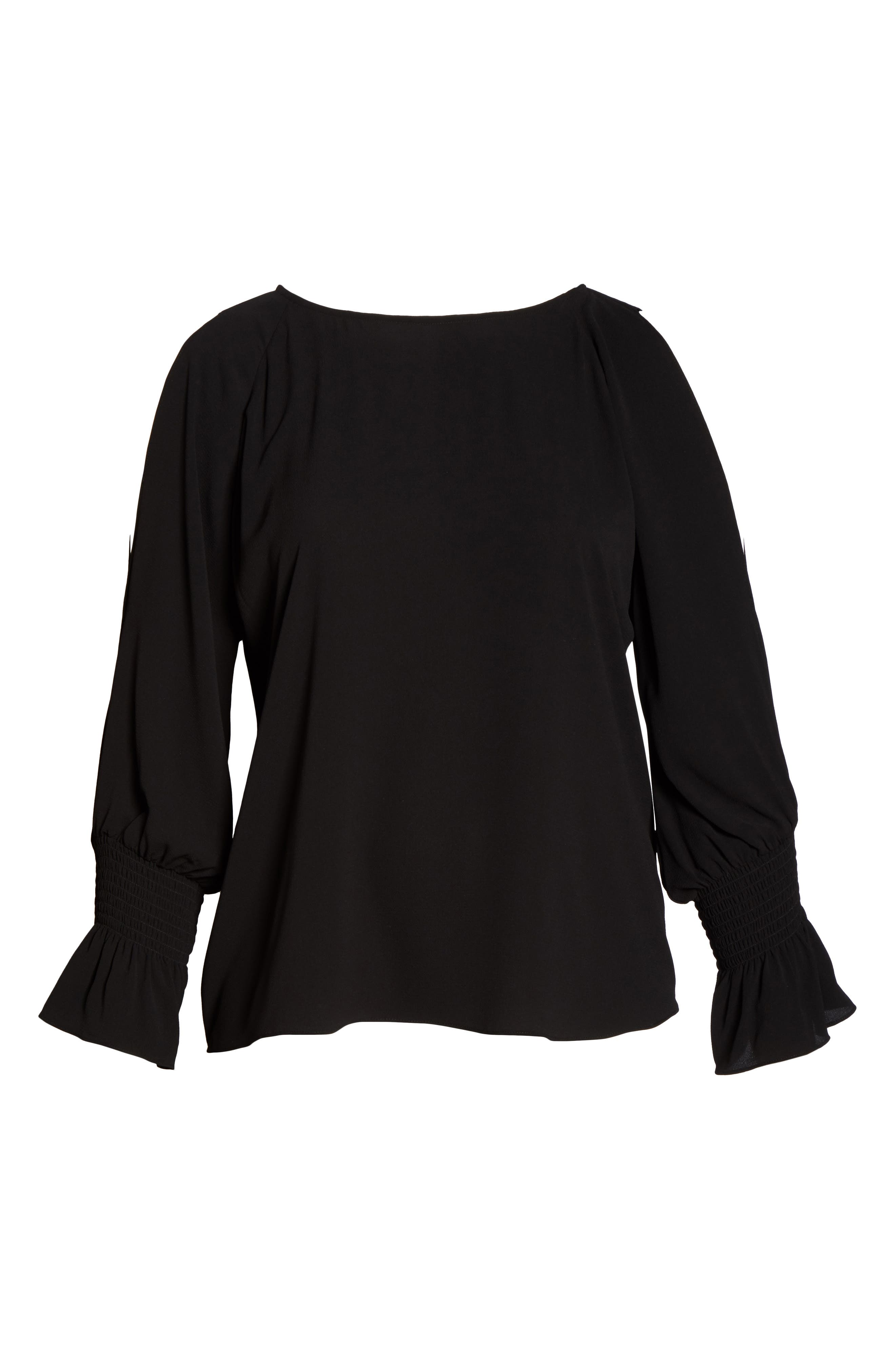 Cold Shoulder Flare Cuff Top,                             Alternate thumbnail 6, color,                             RICH BLACK