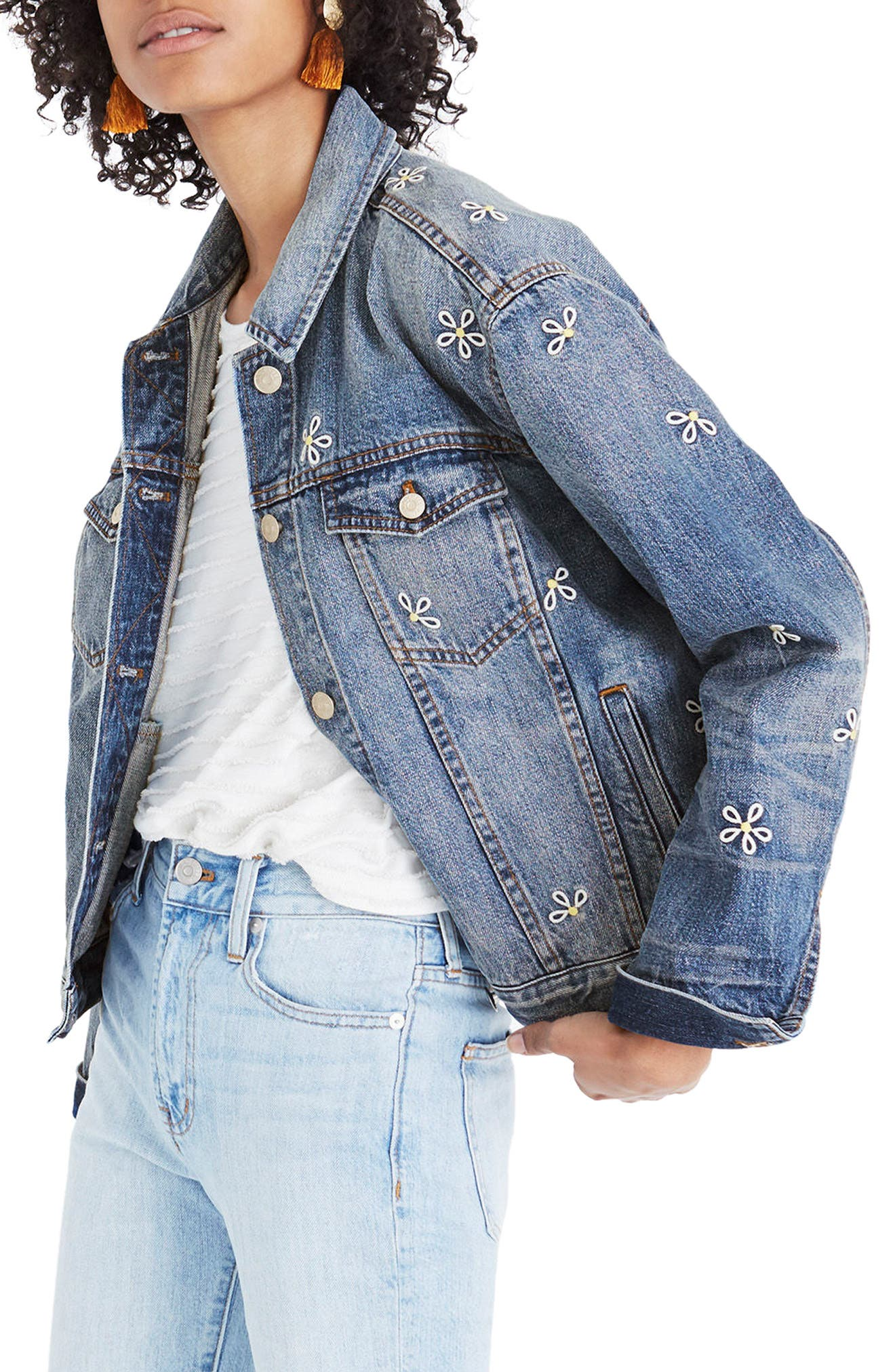 Daisy Embroidered Boxy Crop Denim Jacket,                             Alternate thumbnail 3, color,                             400