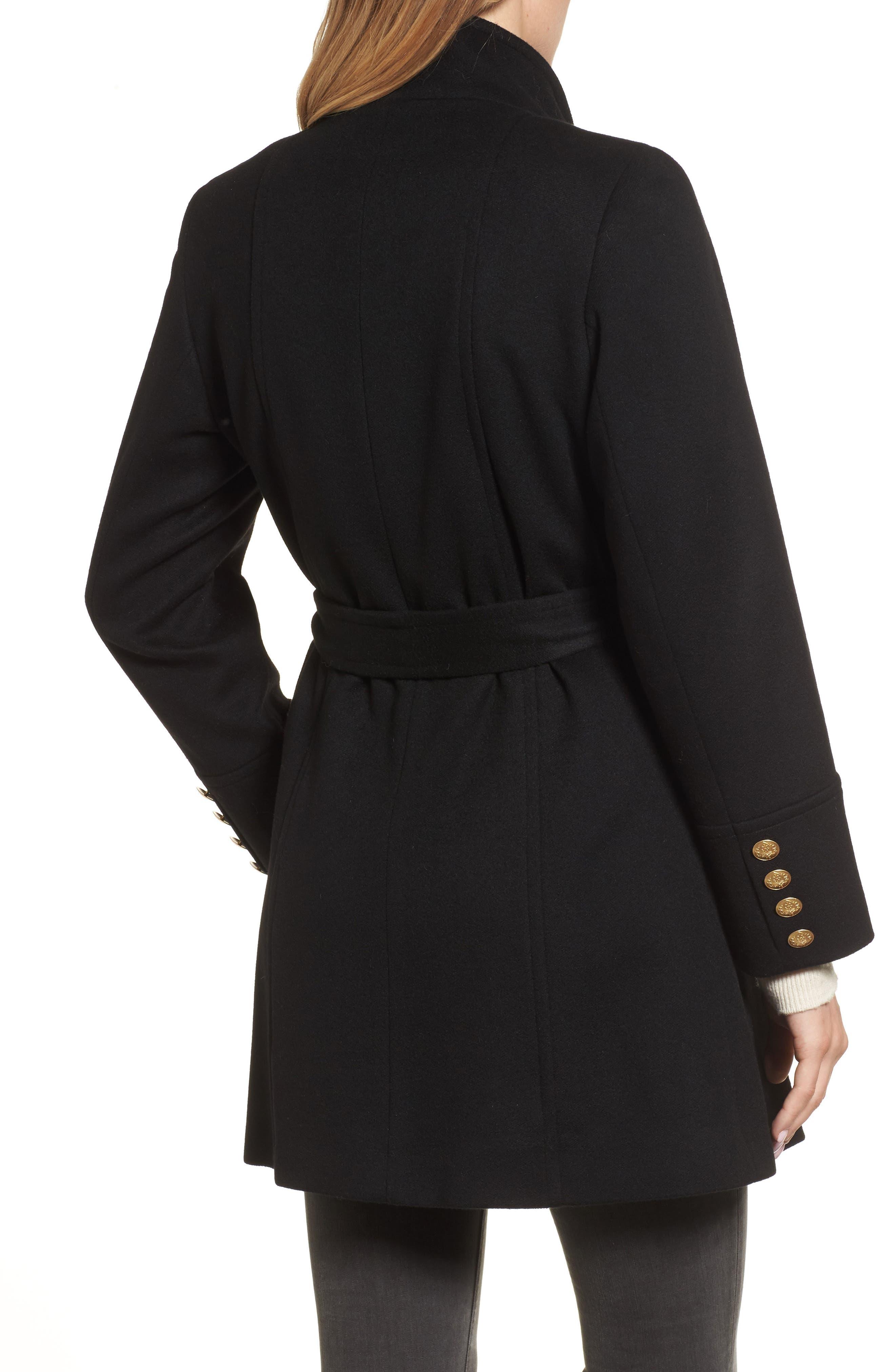 Wool & Cashmere Blend Military Coat,                             Alternate thumbnail 2, color,                             001