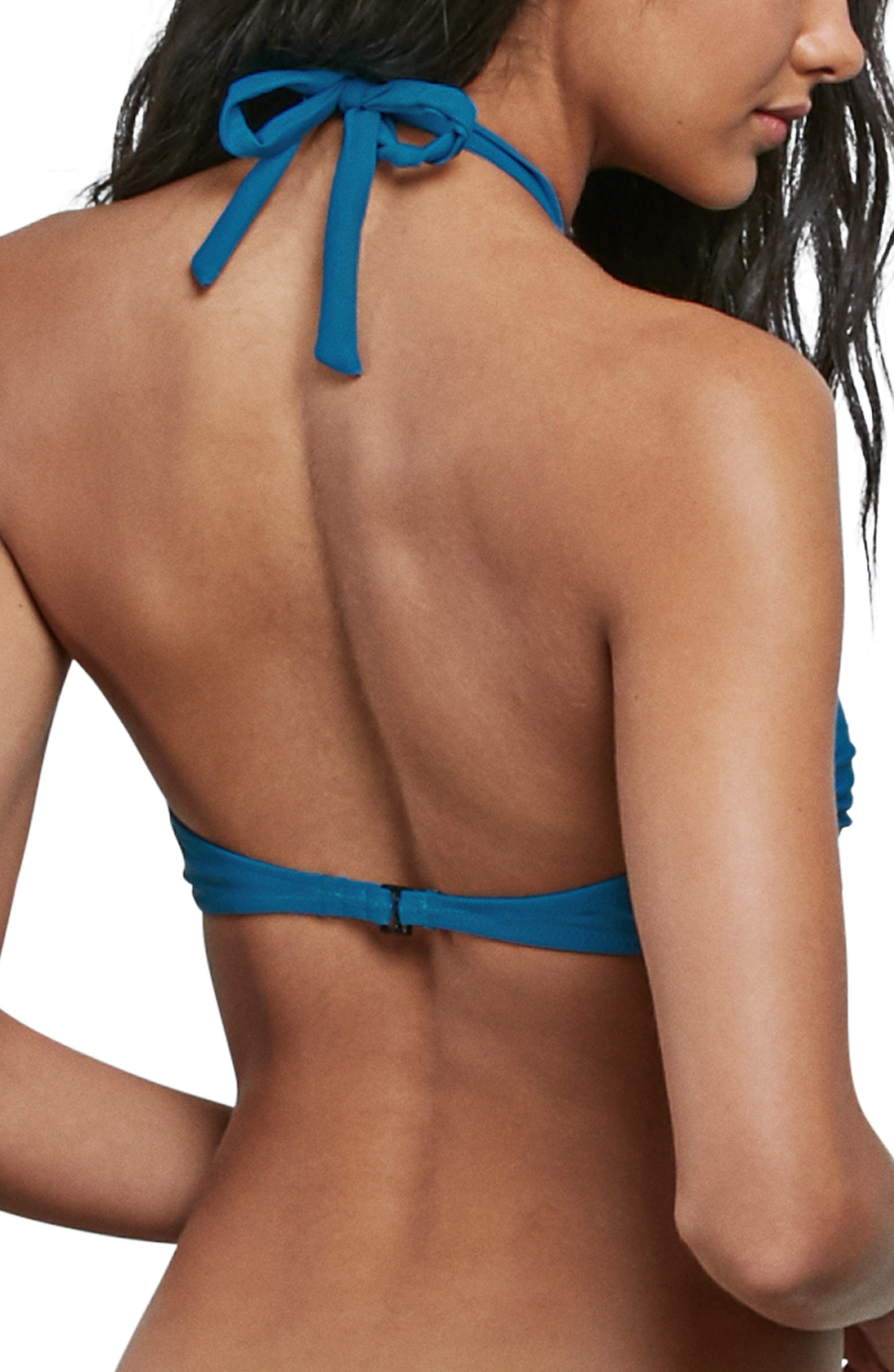 Simply Solid Bandeau Bikini Top,                             Alternate thumbnail 2, color,                             OCEAN
