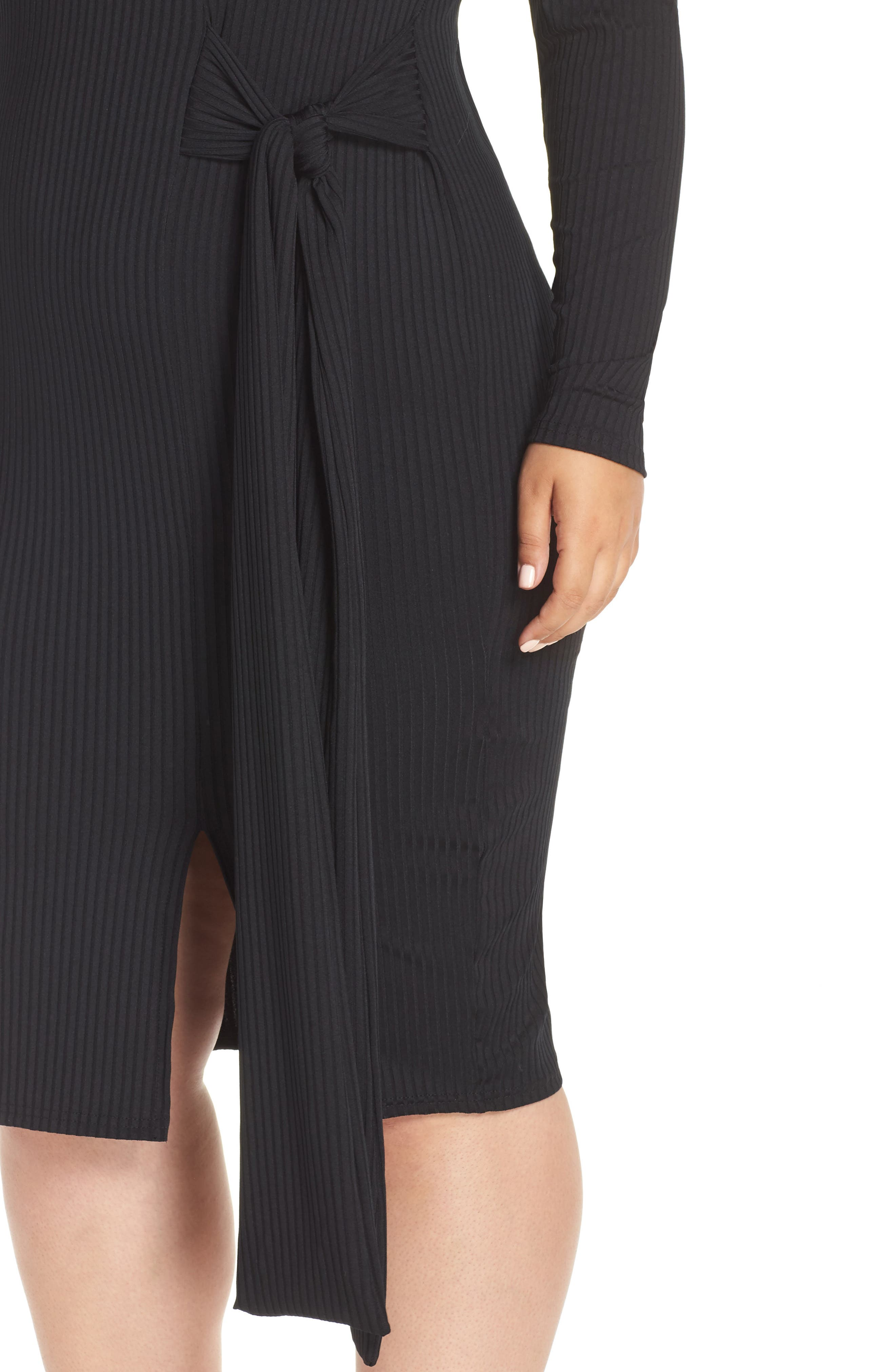 Ribbed Tie Body-Con Dress,                             Alternate thumbnail 4, color,                             001