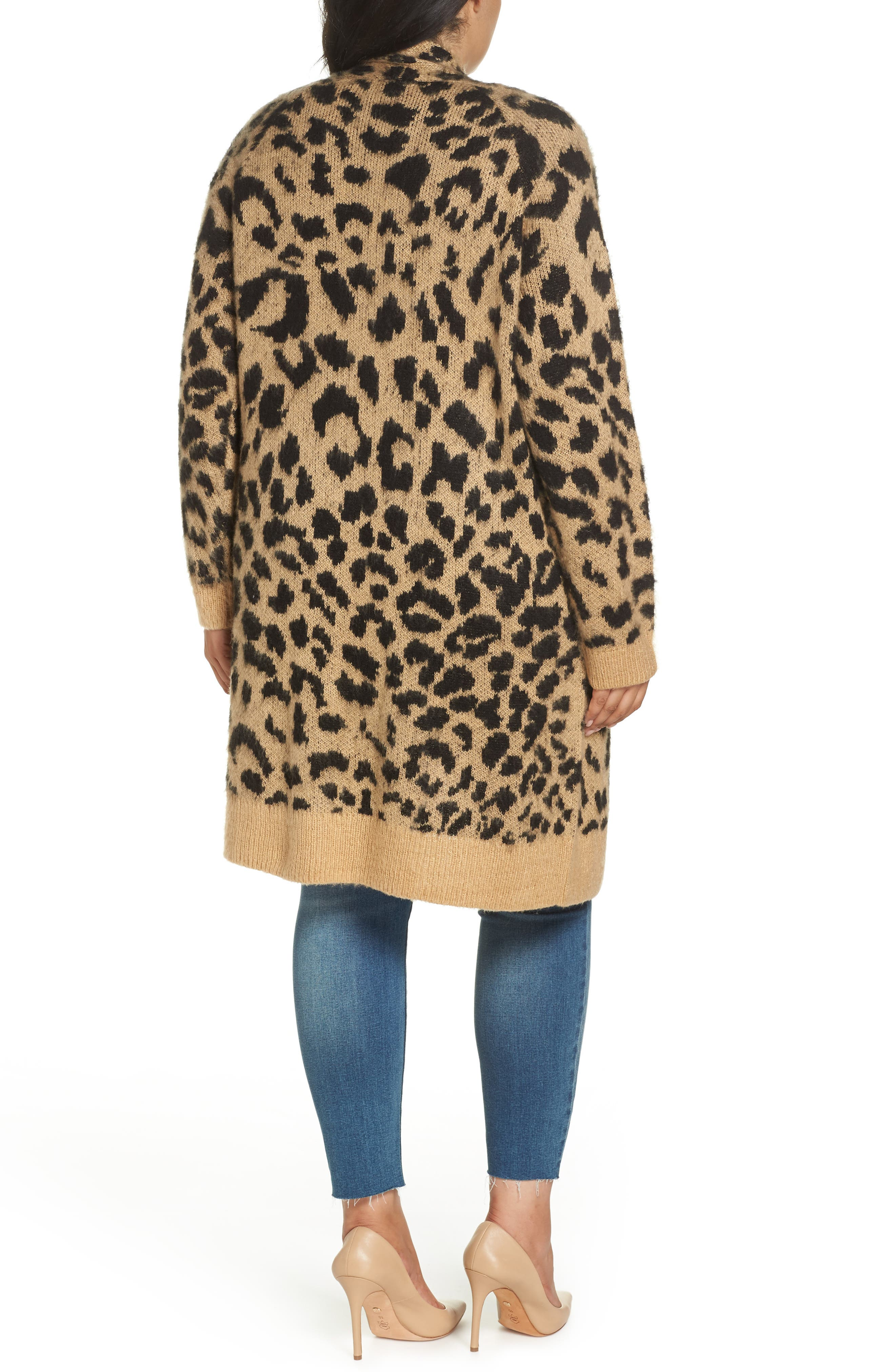 Long Leopard Jacquard Cardigan,                             Alternate thumbnail 8, color,                             260