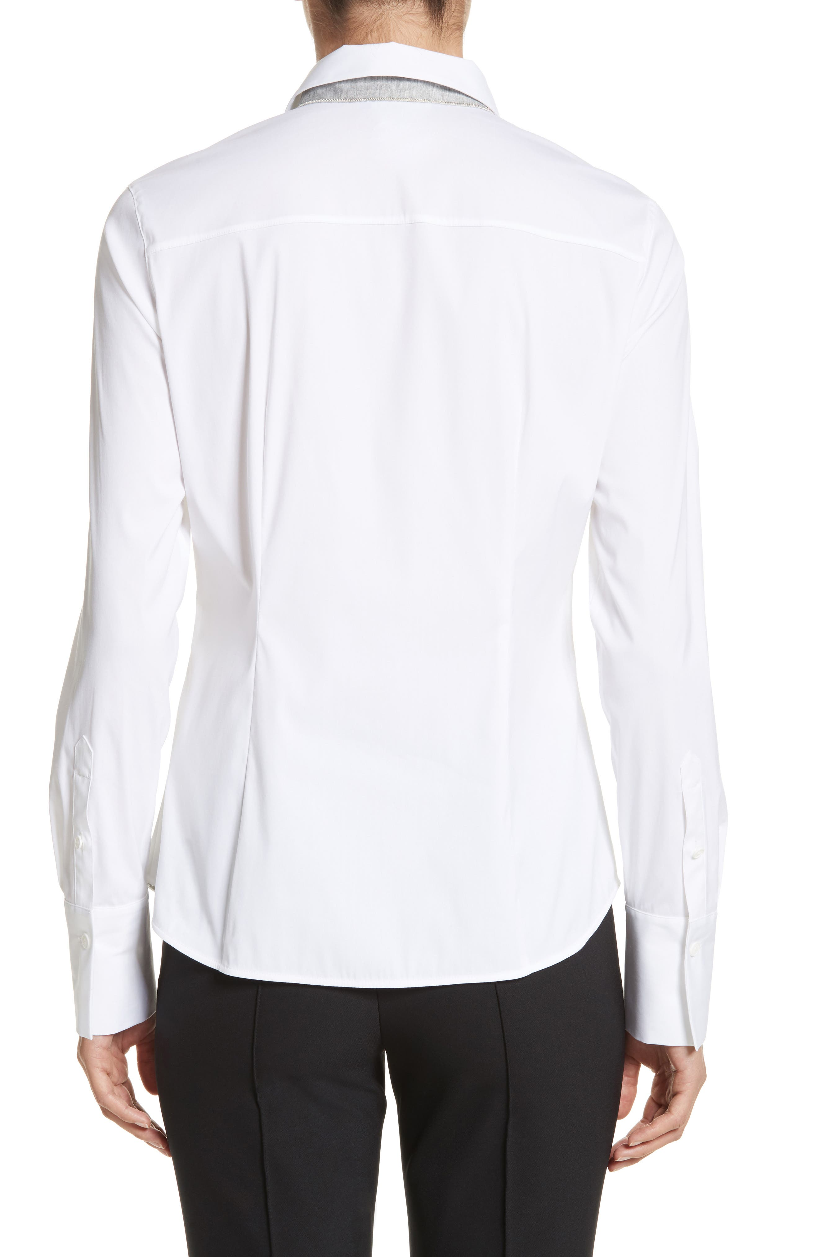 LAFAYETTE 148 NEW YORK,                             Linley Stretch Cotton Blouse,                             Alternate thumbnail 2, color,                             WHITE
