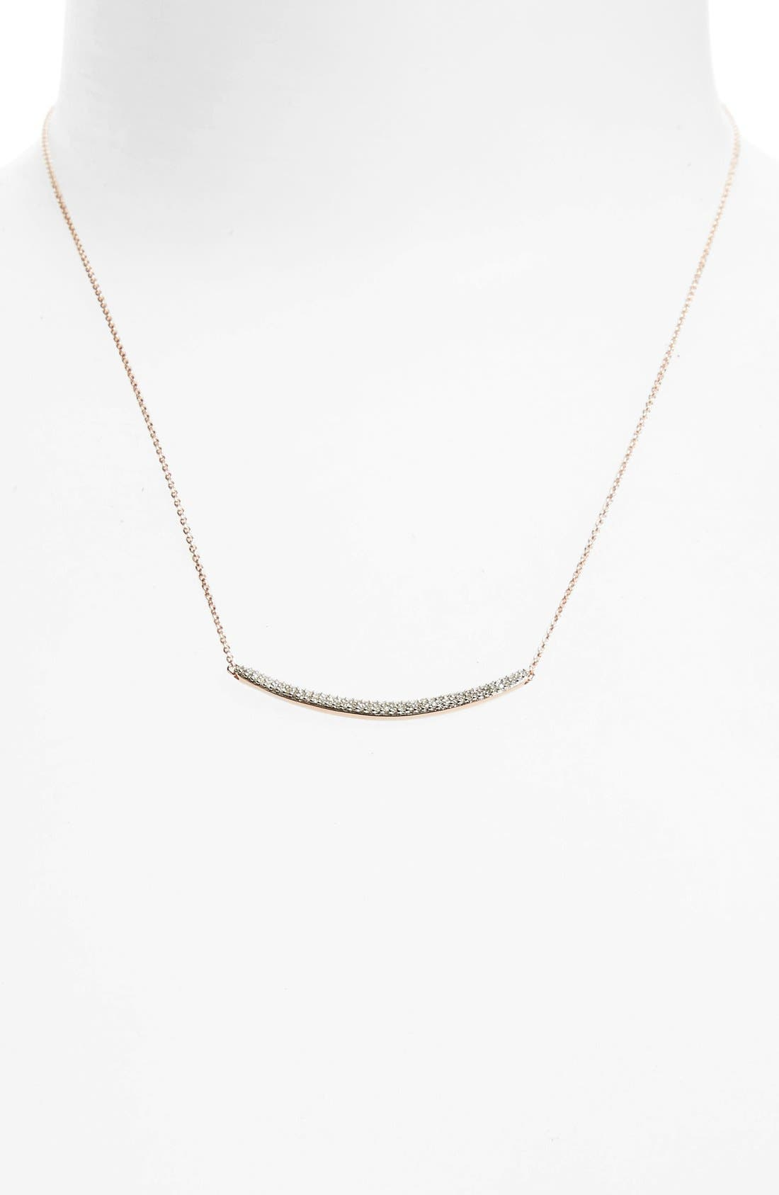 Skinny Diamond Necklace,                             Alternate thumbnail 5, color,                             ROSE GOLD
