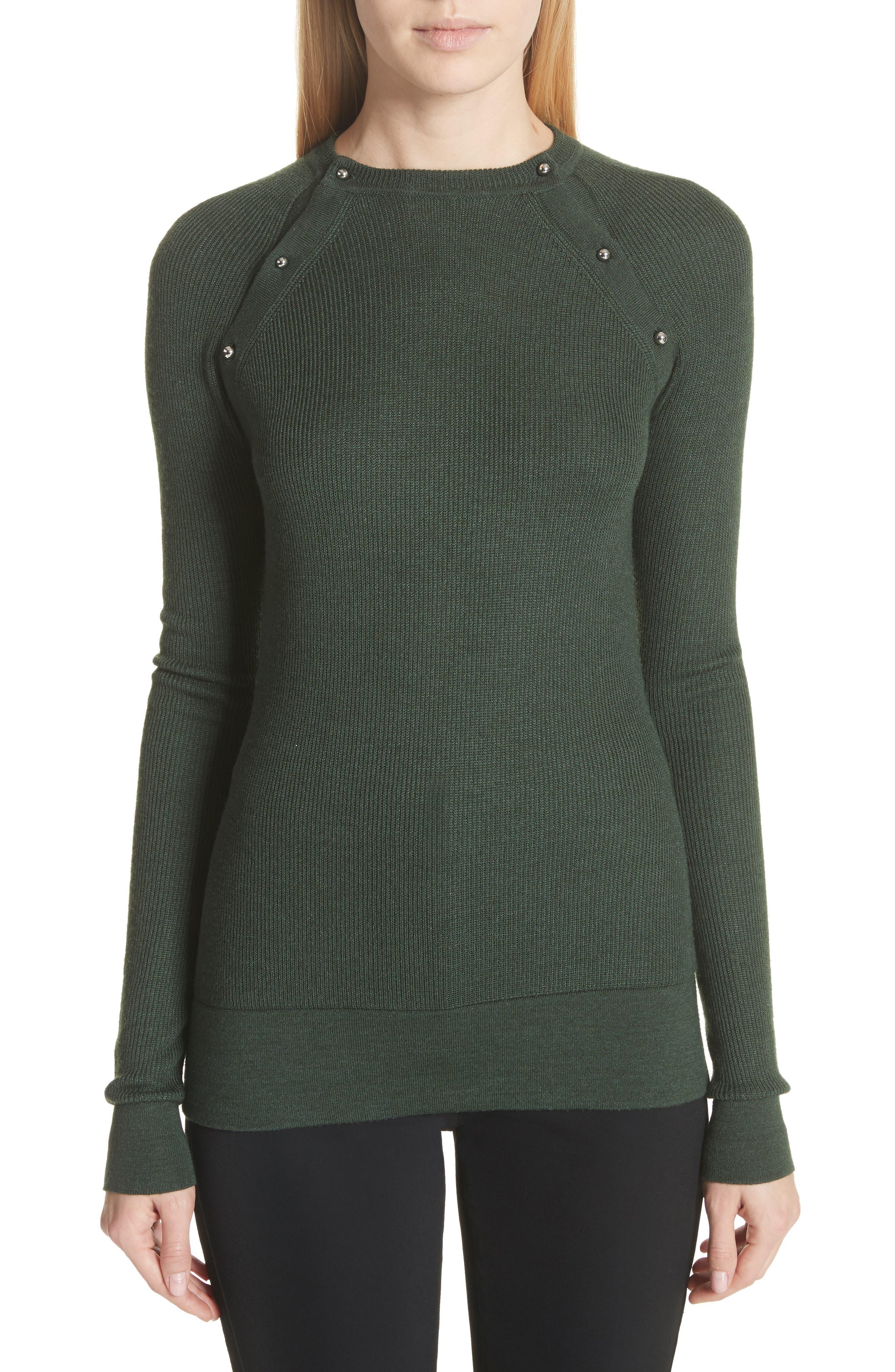 Button Seam Silk & Merino Wool Sweater,                         Main,                         color, 368