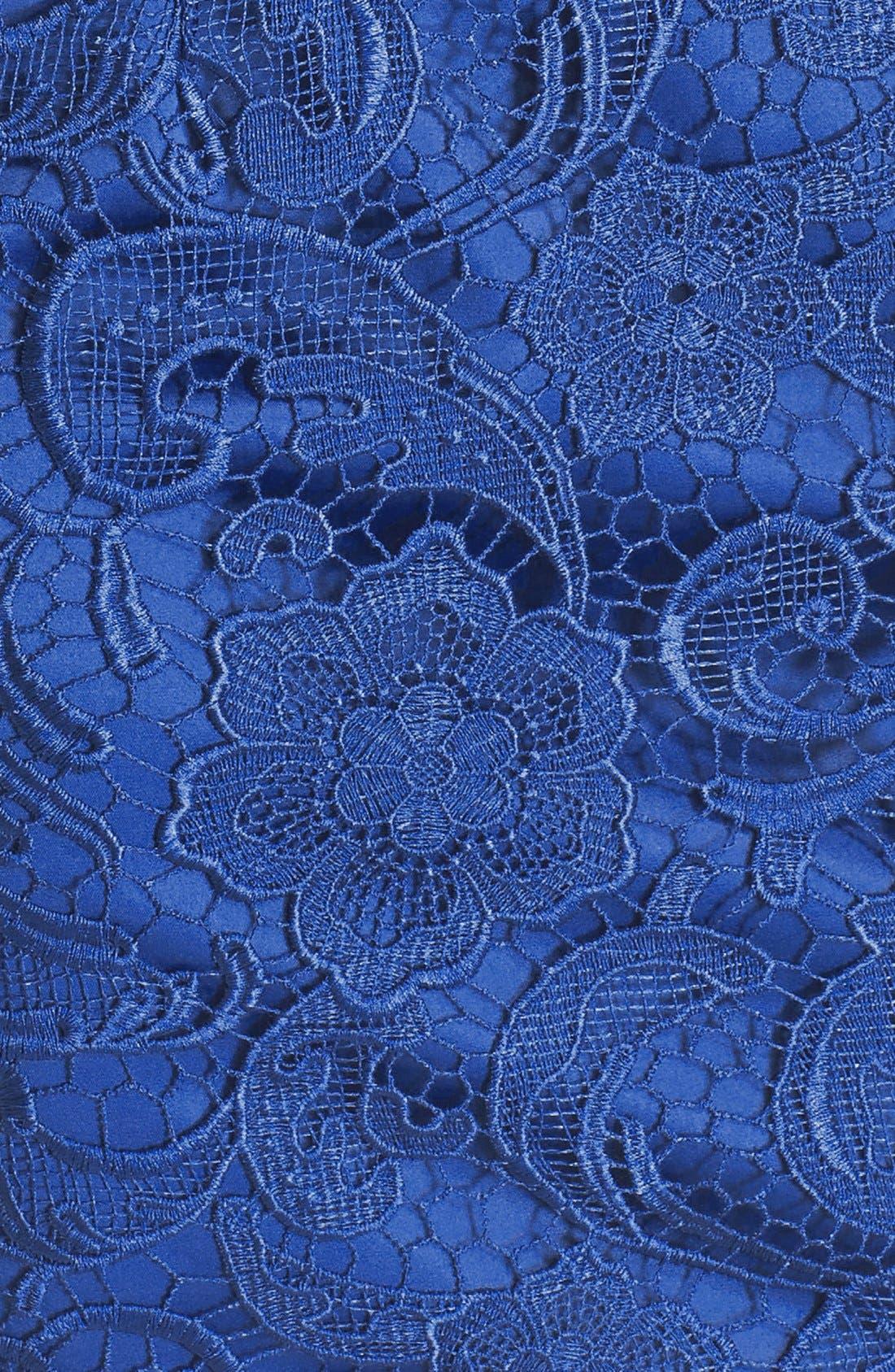 Illusion Bodice Lace Sheath Dress,                             Alternate thumbnail 18, color,