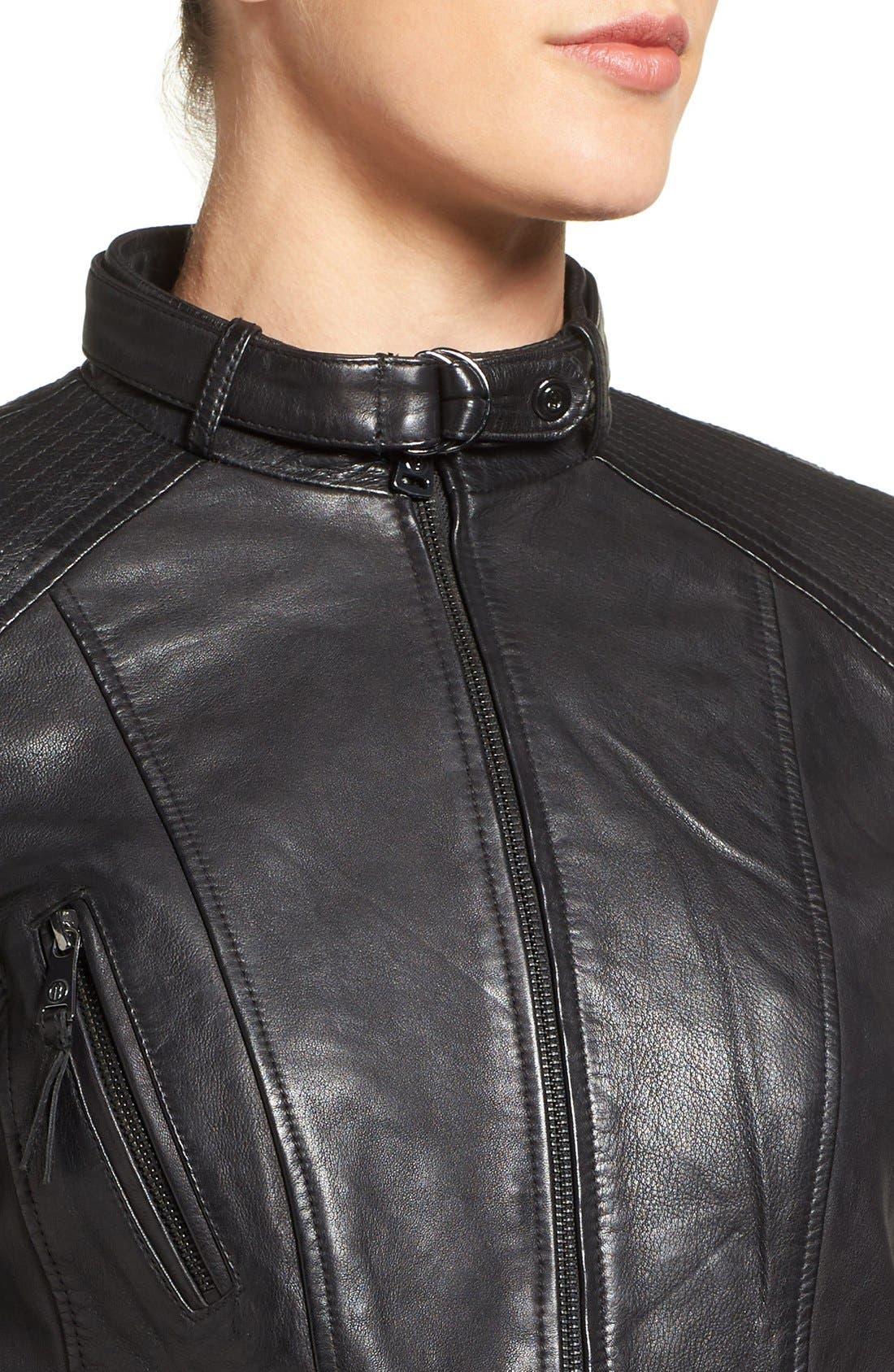 Zip Front Leather Biker Jacket,                             Alternate thumbnail 11, color,