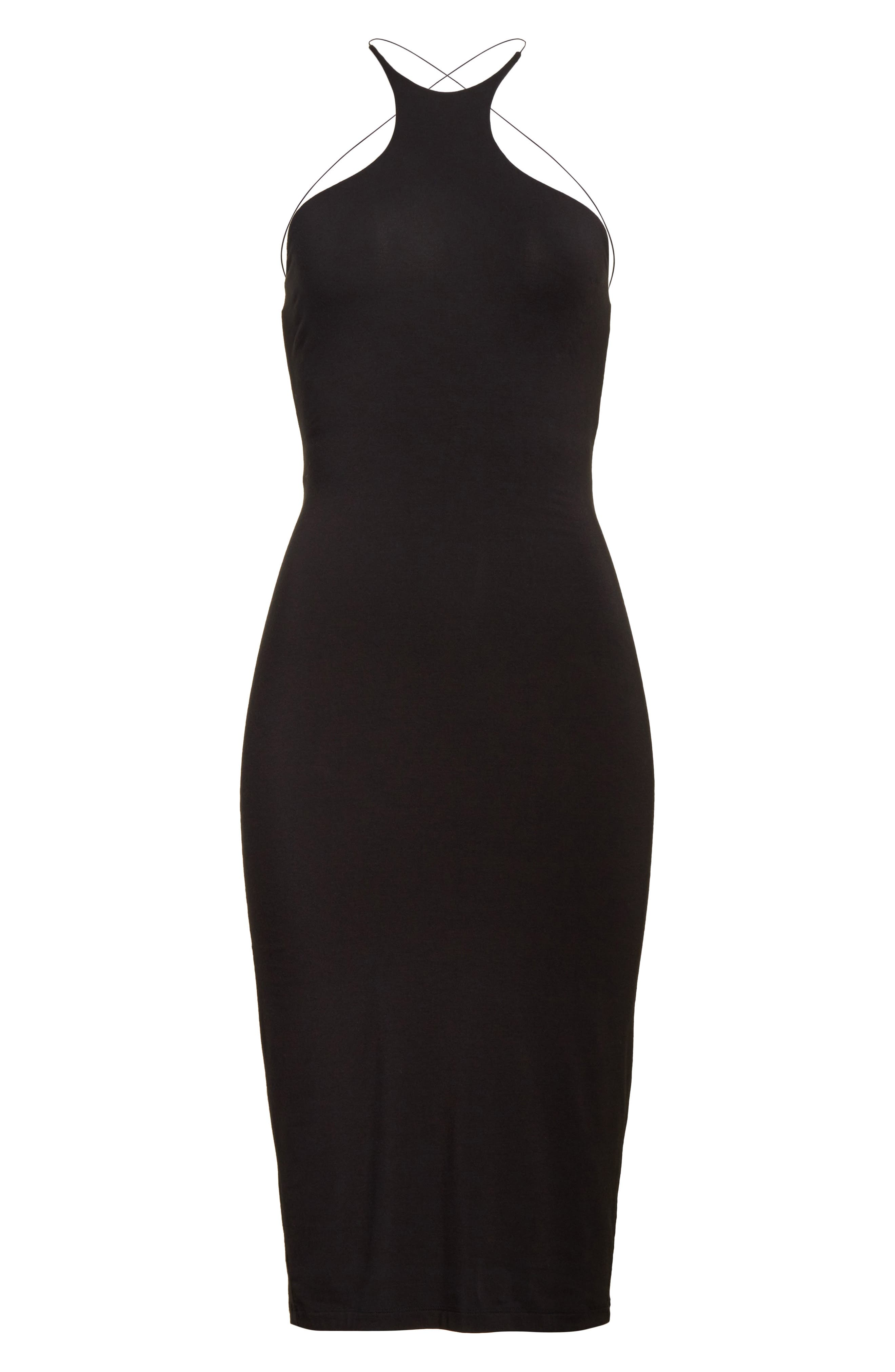 T by Alexander Wang Strappy Jersey Body-Con Dress,                             Alternate thumbnail 6, color,                             001