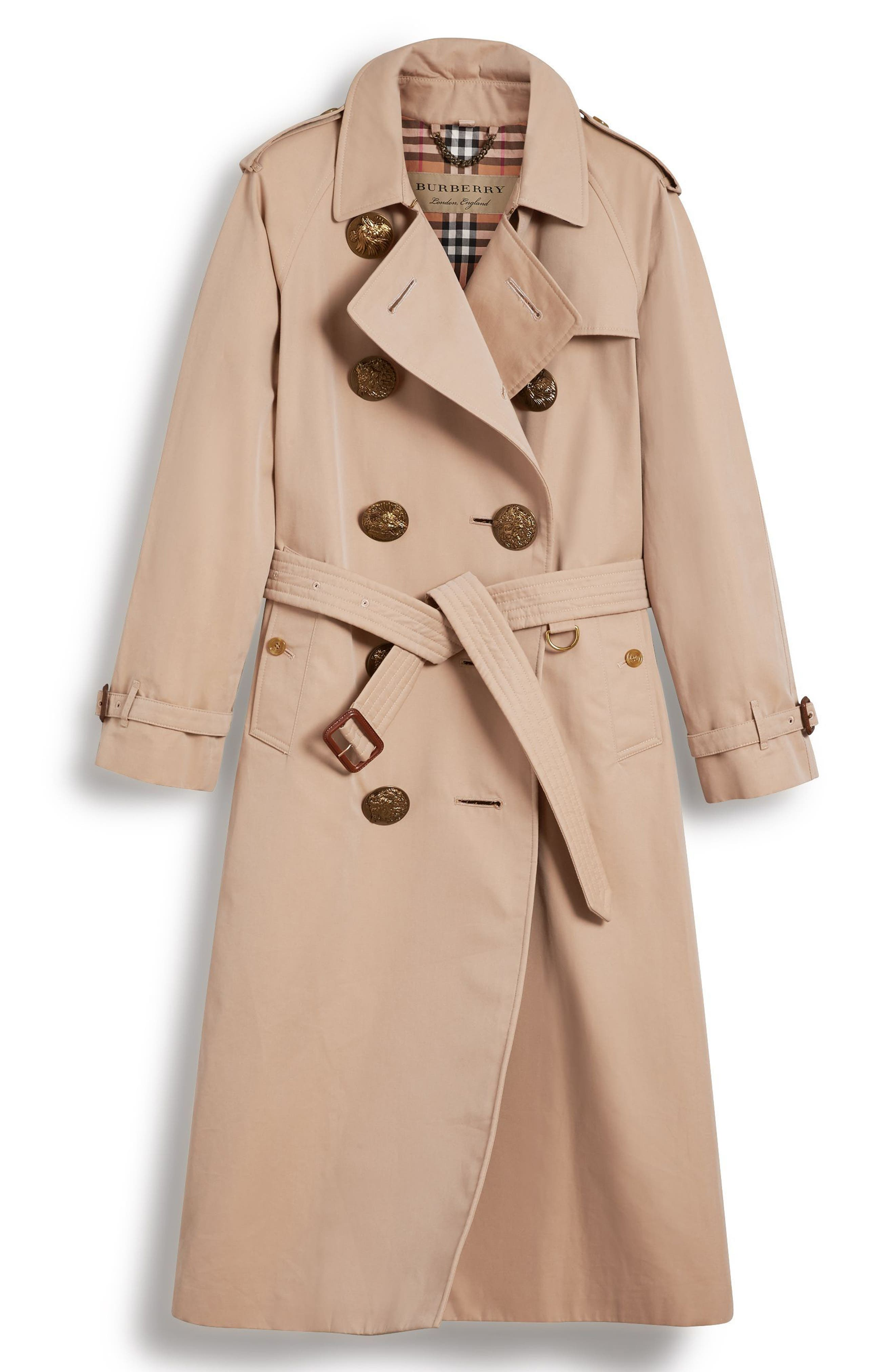 Eastheath Bird Button Cotton Trench Coat,                             Alternate thumbnail 5, color,