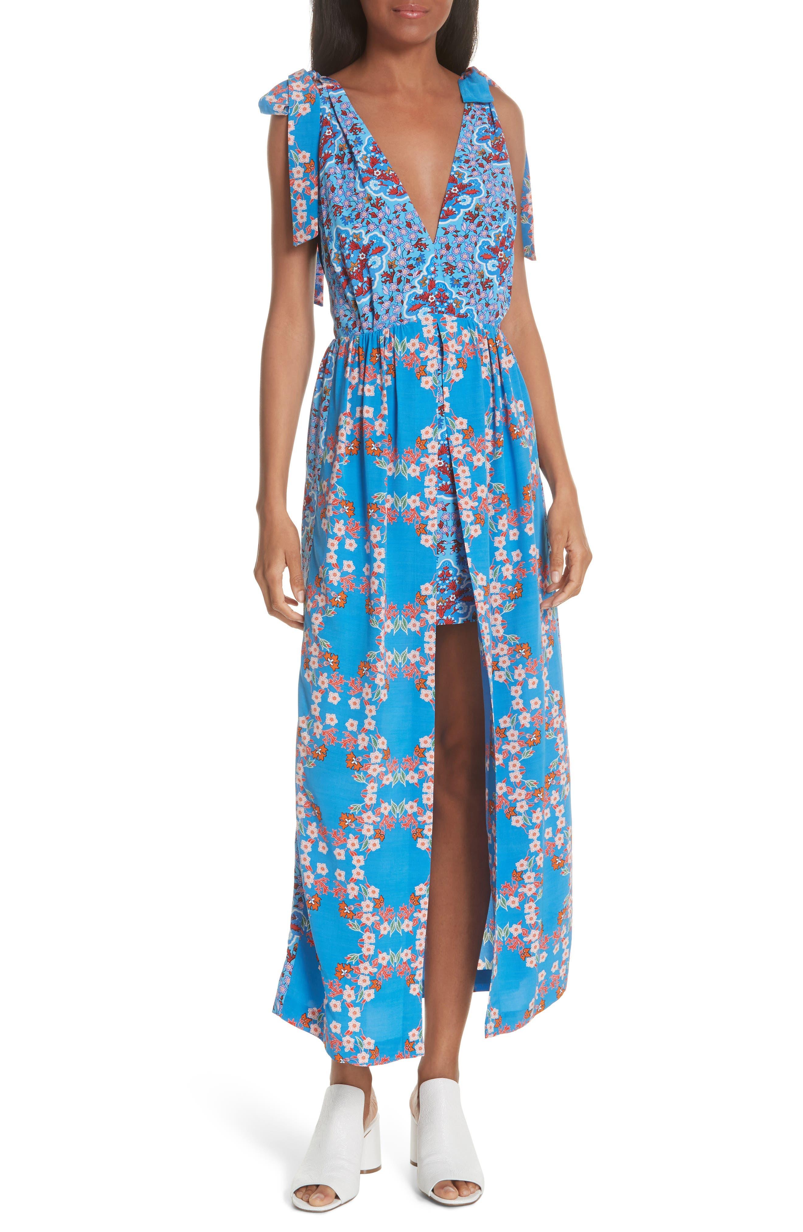 Floral Plunging Slit Dress,                             Main thumbnail 1, color,                             400