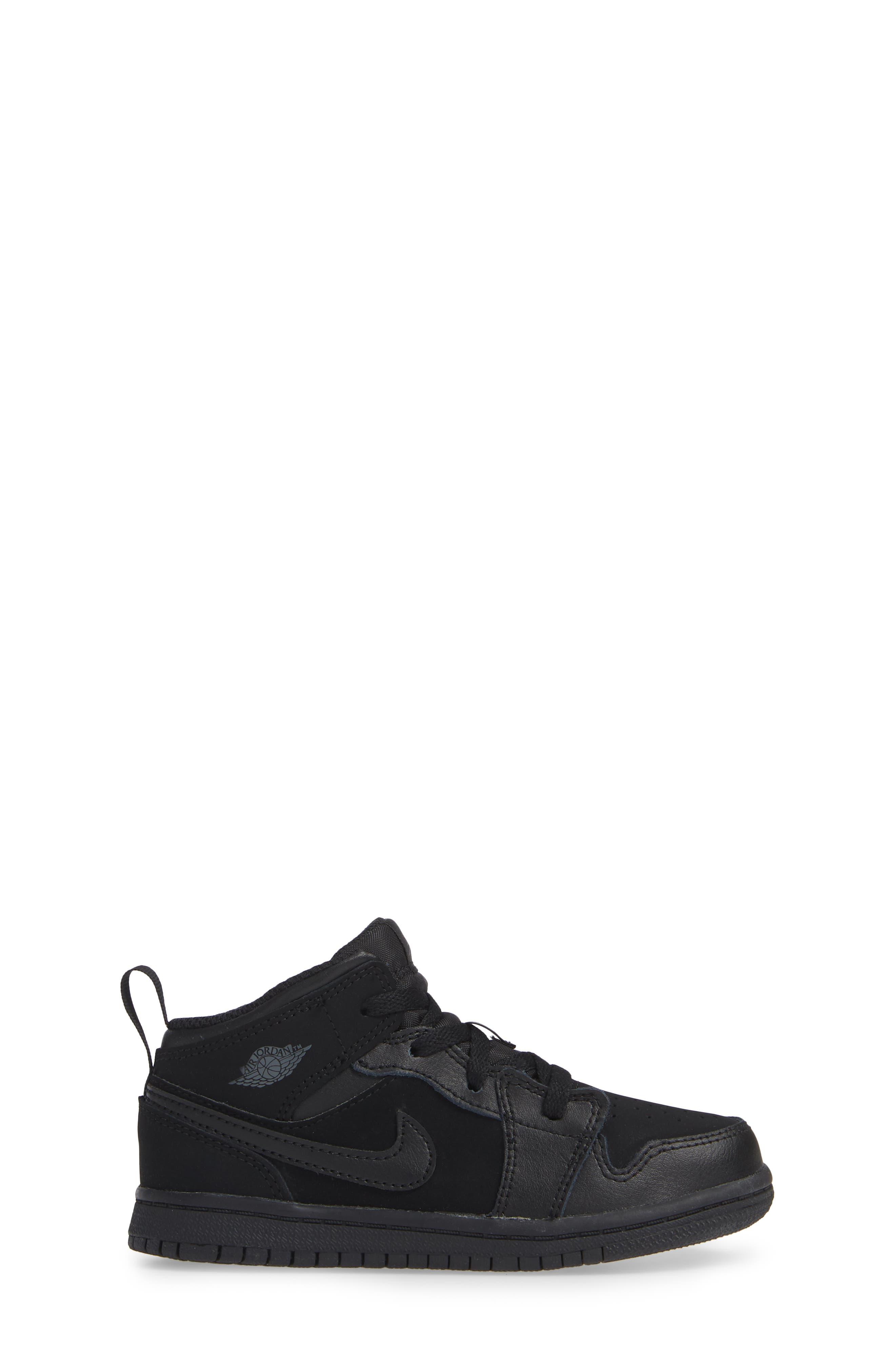 Nike 'Air Jordan 1 Mid' Sneaker,                             Alternate thumbnail 3, color,                             BLACK/ DARK GREY/ BLACK