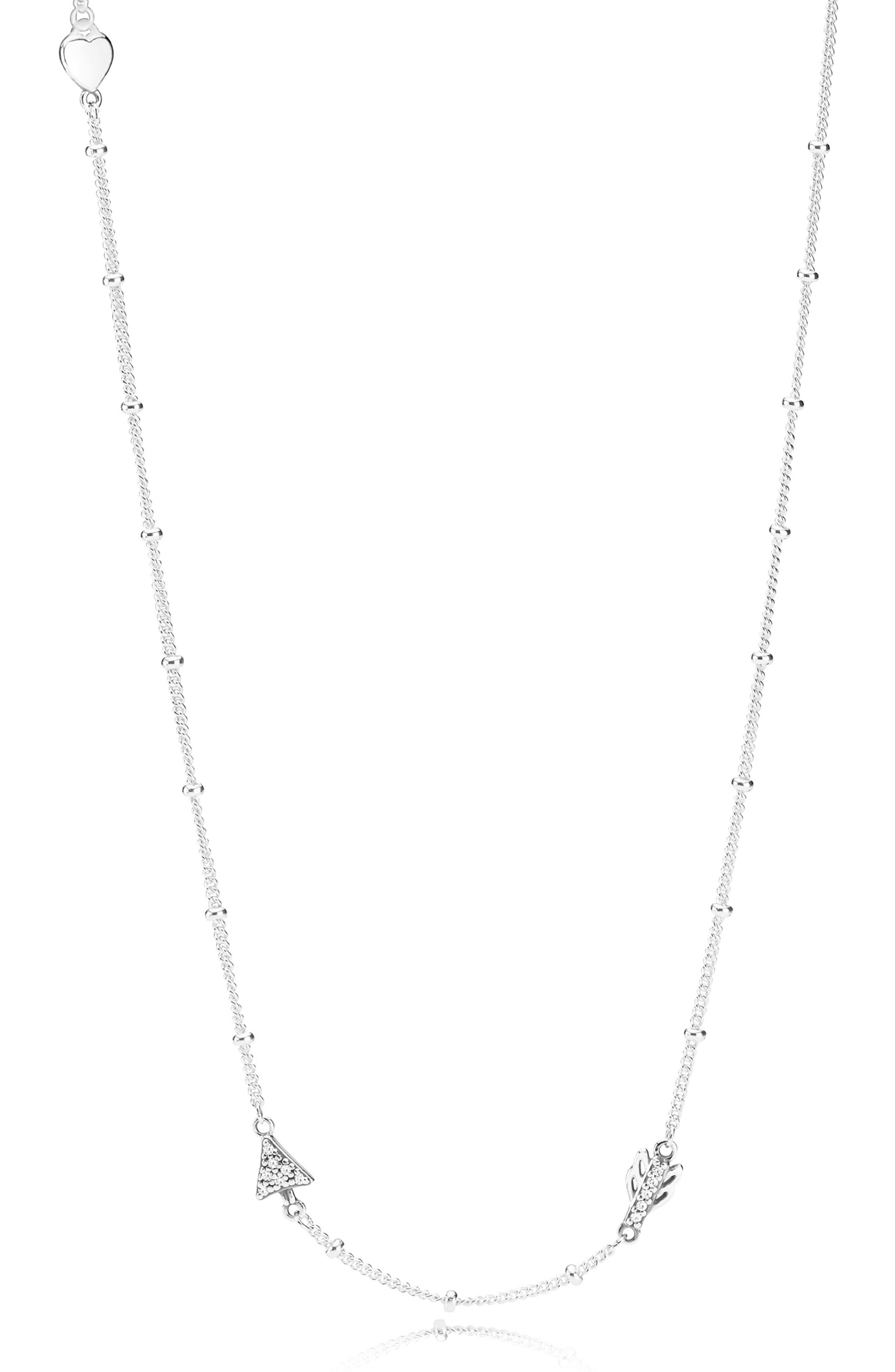 Sparkling Arrow Necklace, Main, color, SILVER