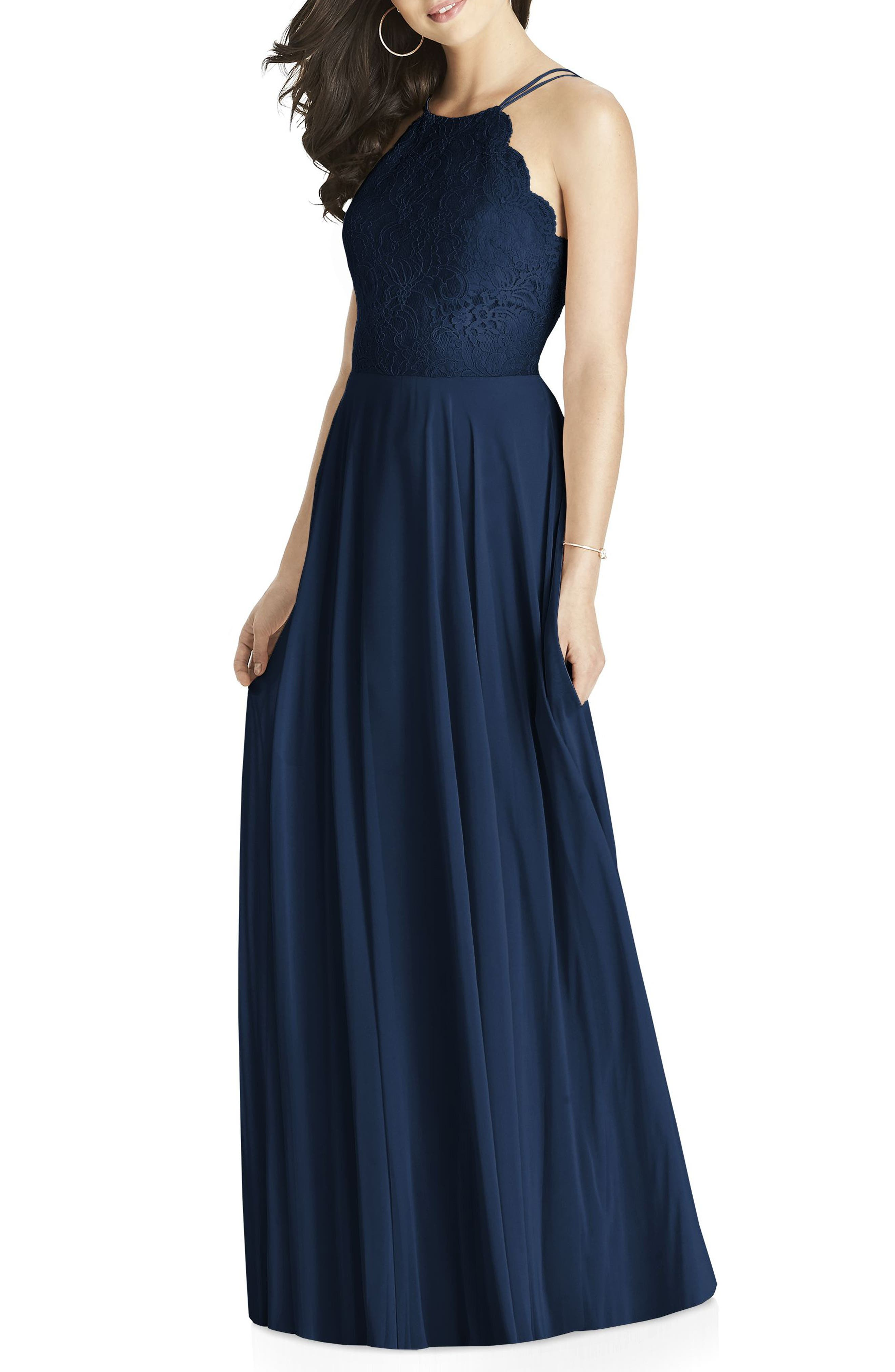 Dessy Collection Lace & Chiffon Halter Gown, Blue