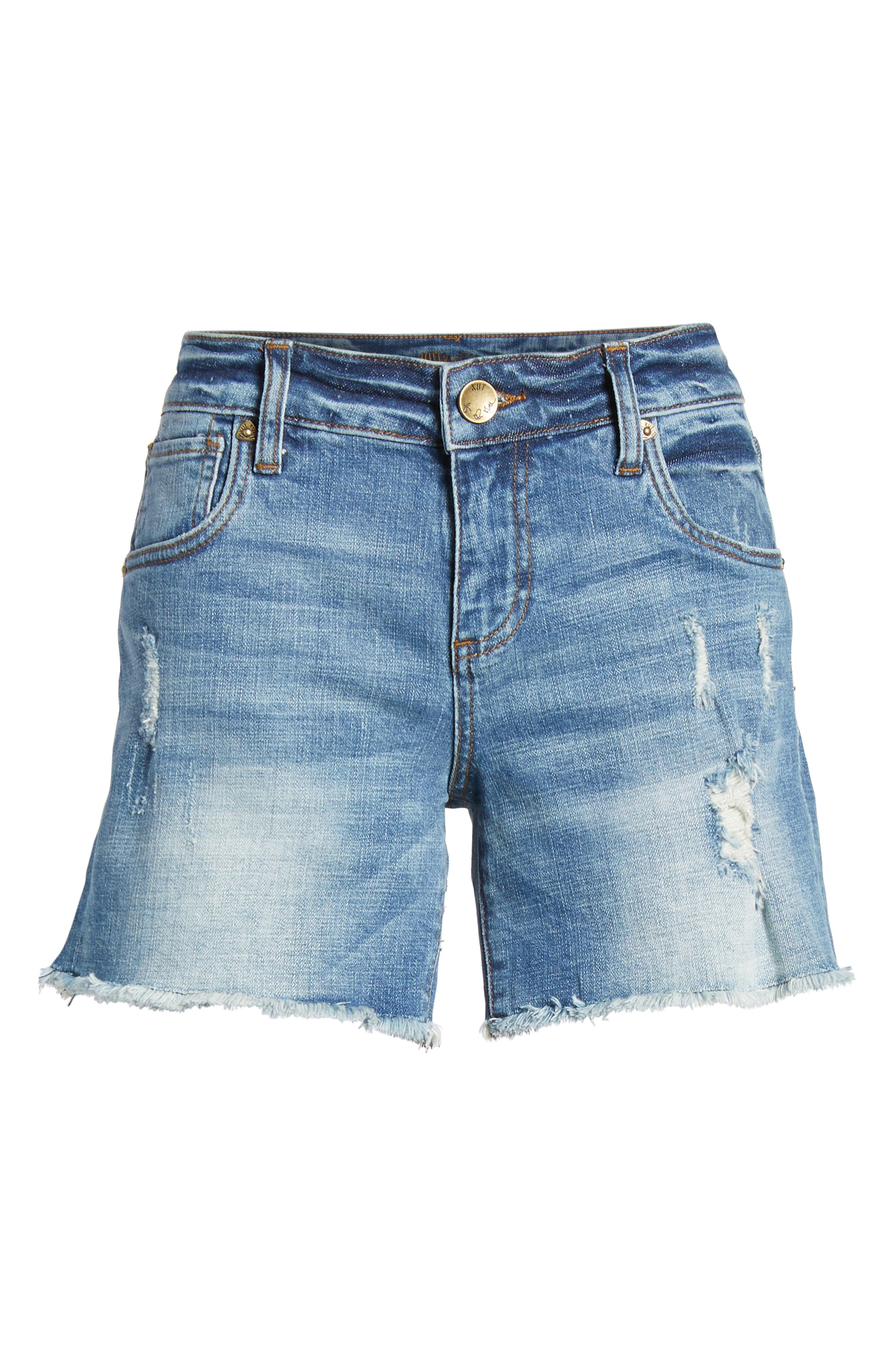 Gidget Distressed Denim Shorts,                             Alternate thumbnail 7, color,                             475
