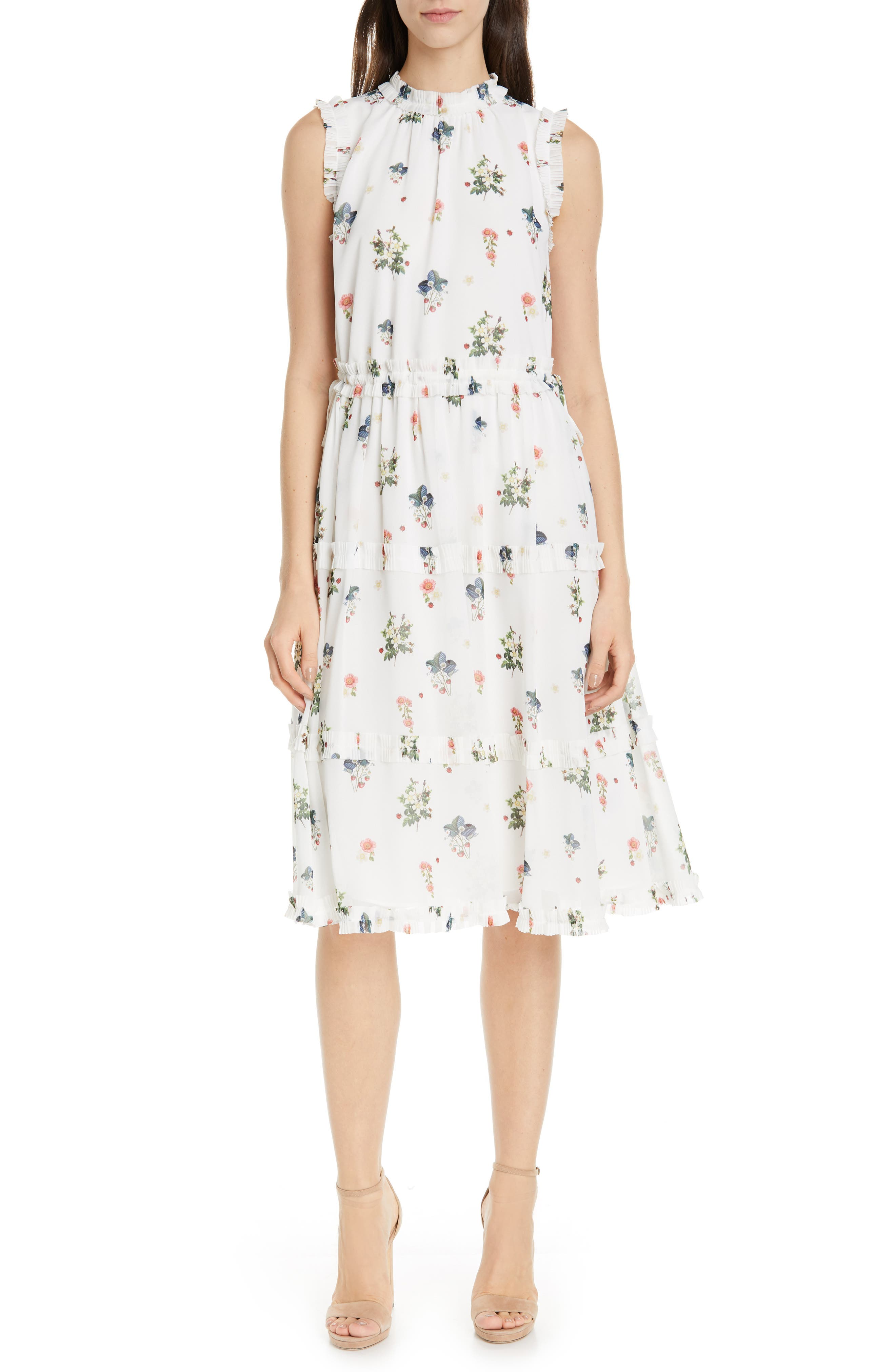 Ted Baker London Flutta Oracle Tiered Floral Midi Dress, White
