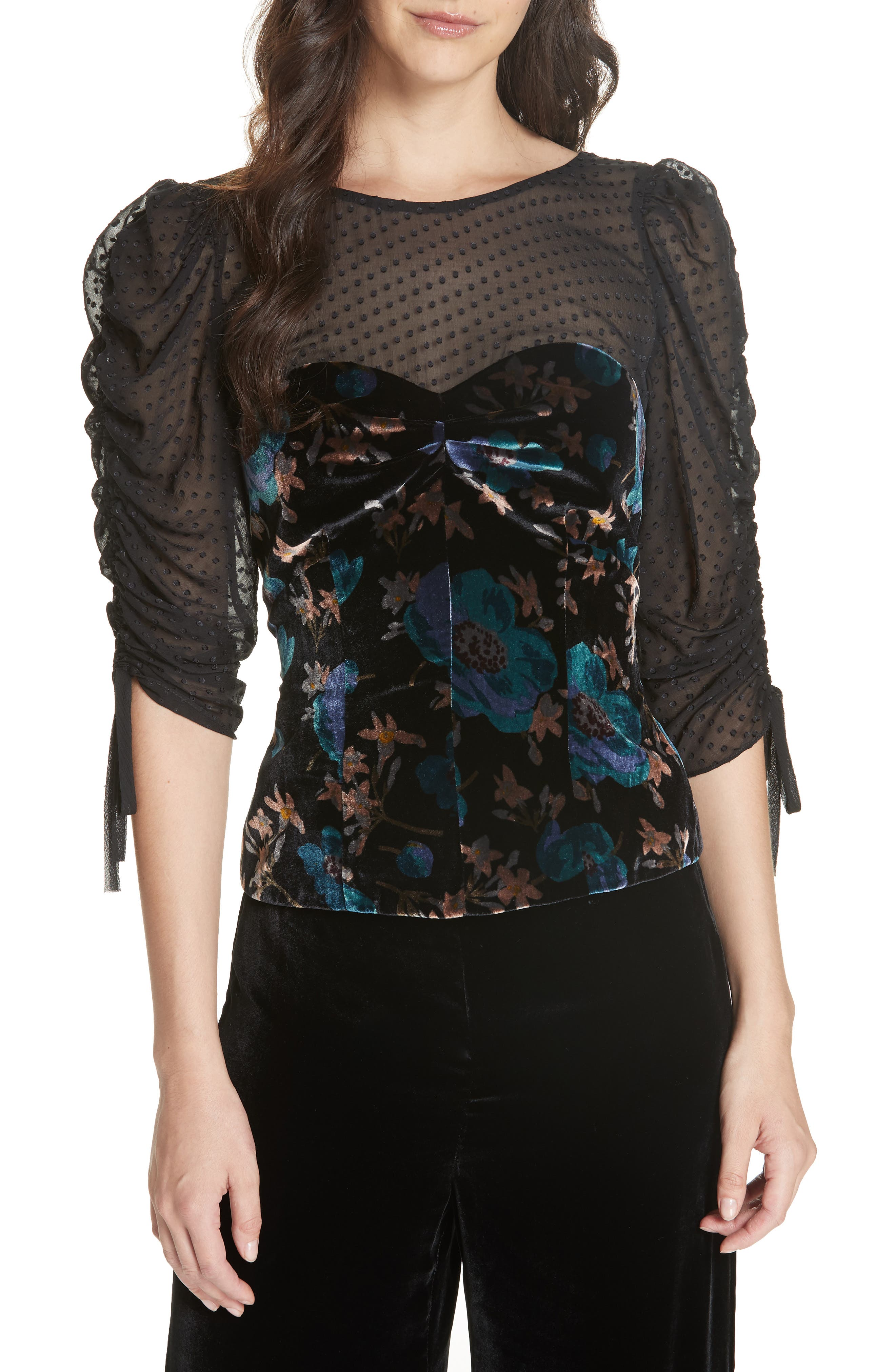Velvet Illusion Lace Blouse,                             Main thumbnail 1, color,                             BLACK COMBO