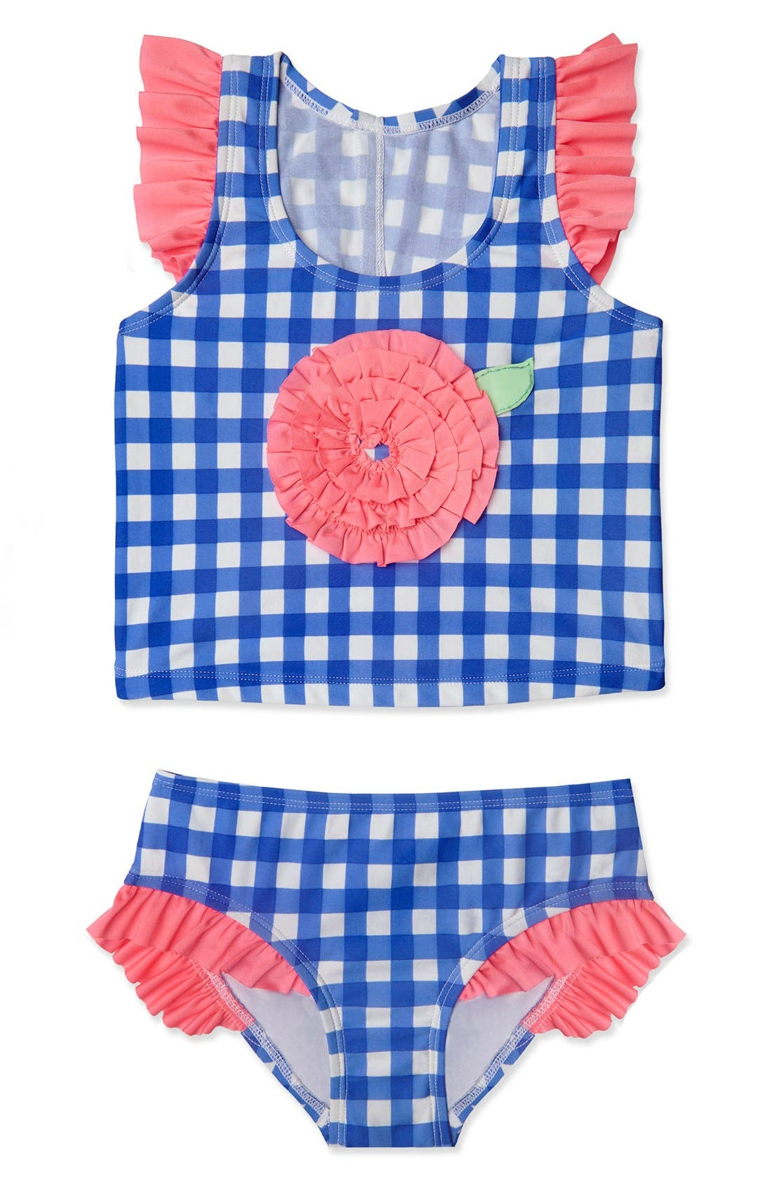 Gingham Two-Piece Swimsuit,                             Main thumbnail 1, color,