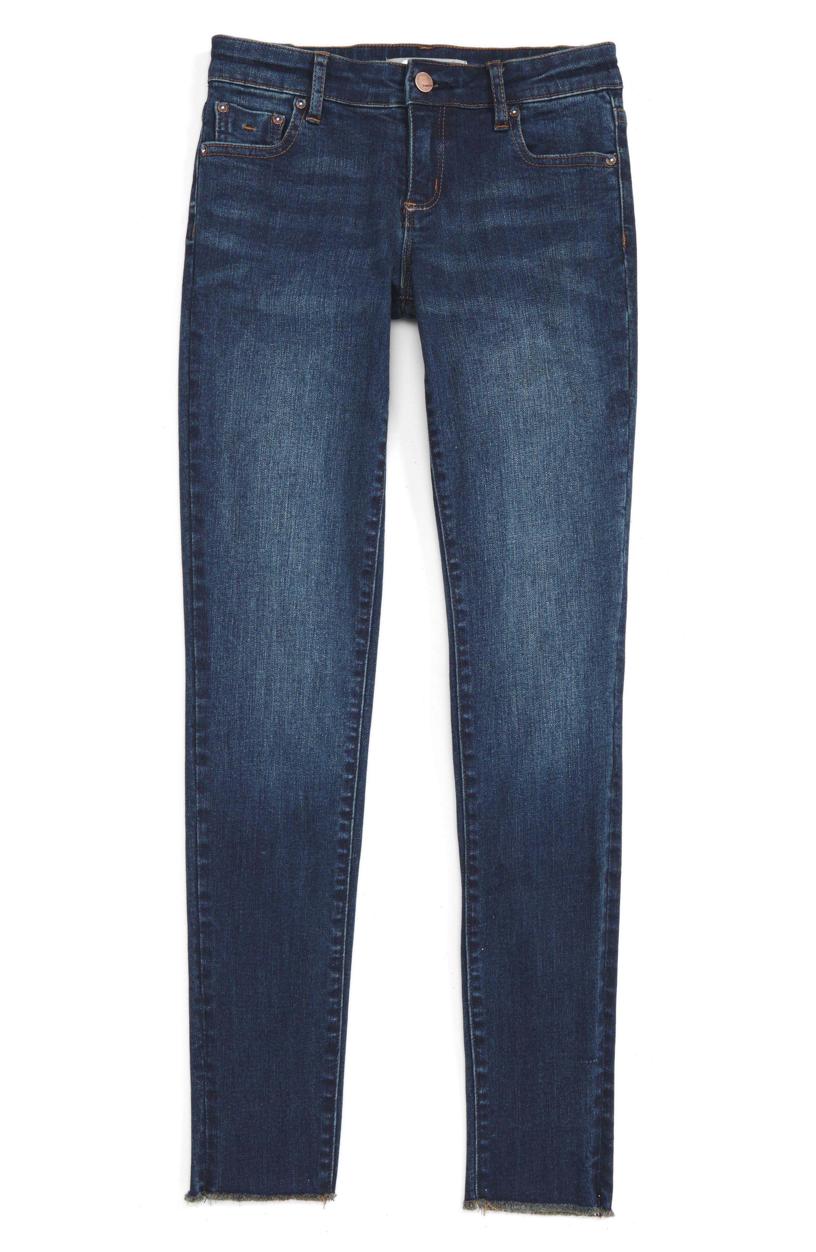 Fray Hem Skinny Jeans,                             Main thumbnail 1, color,                             407