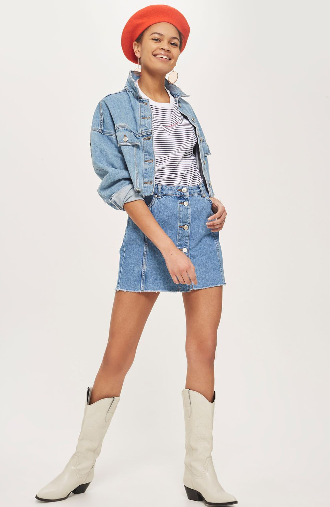 Button Denim Miniskirt,                             Alternate thumbnail 4, color,                             001