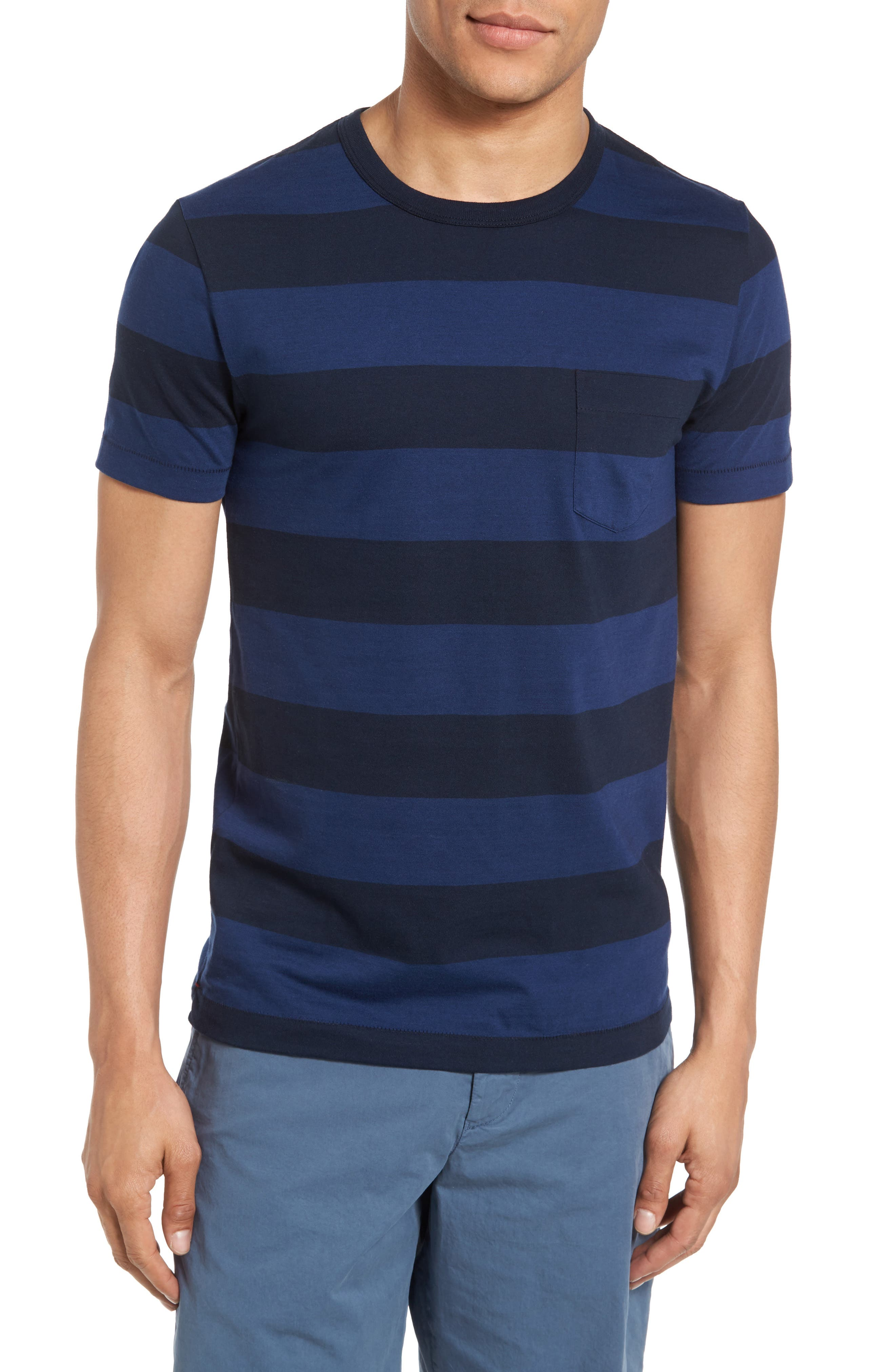 Varsity View Stripe Slim T-Shirt,                         Main,                         color, 415