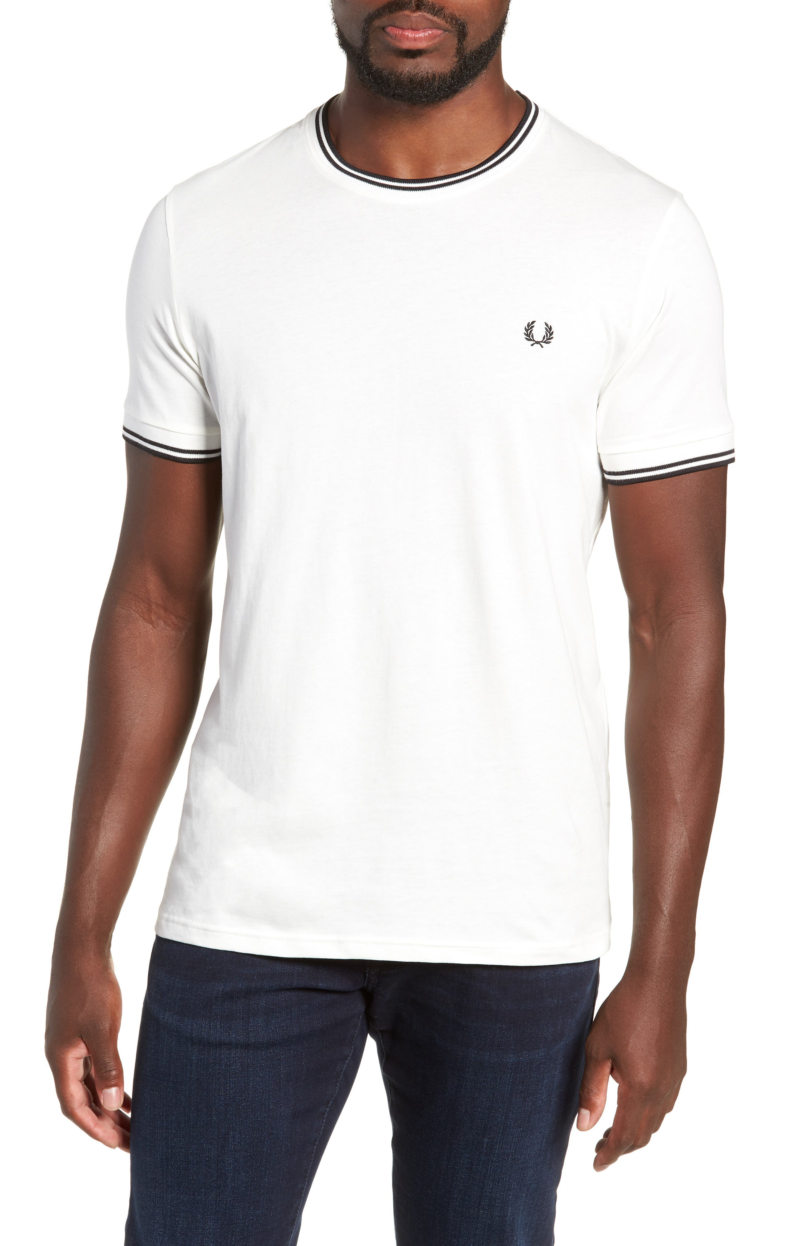 Contrast Trim T-Shirt,                         Main,                         color, SNOW WHITE
