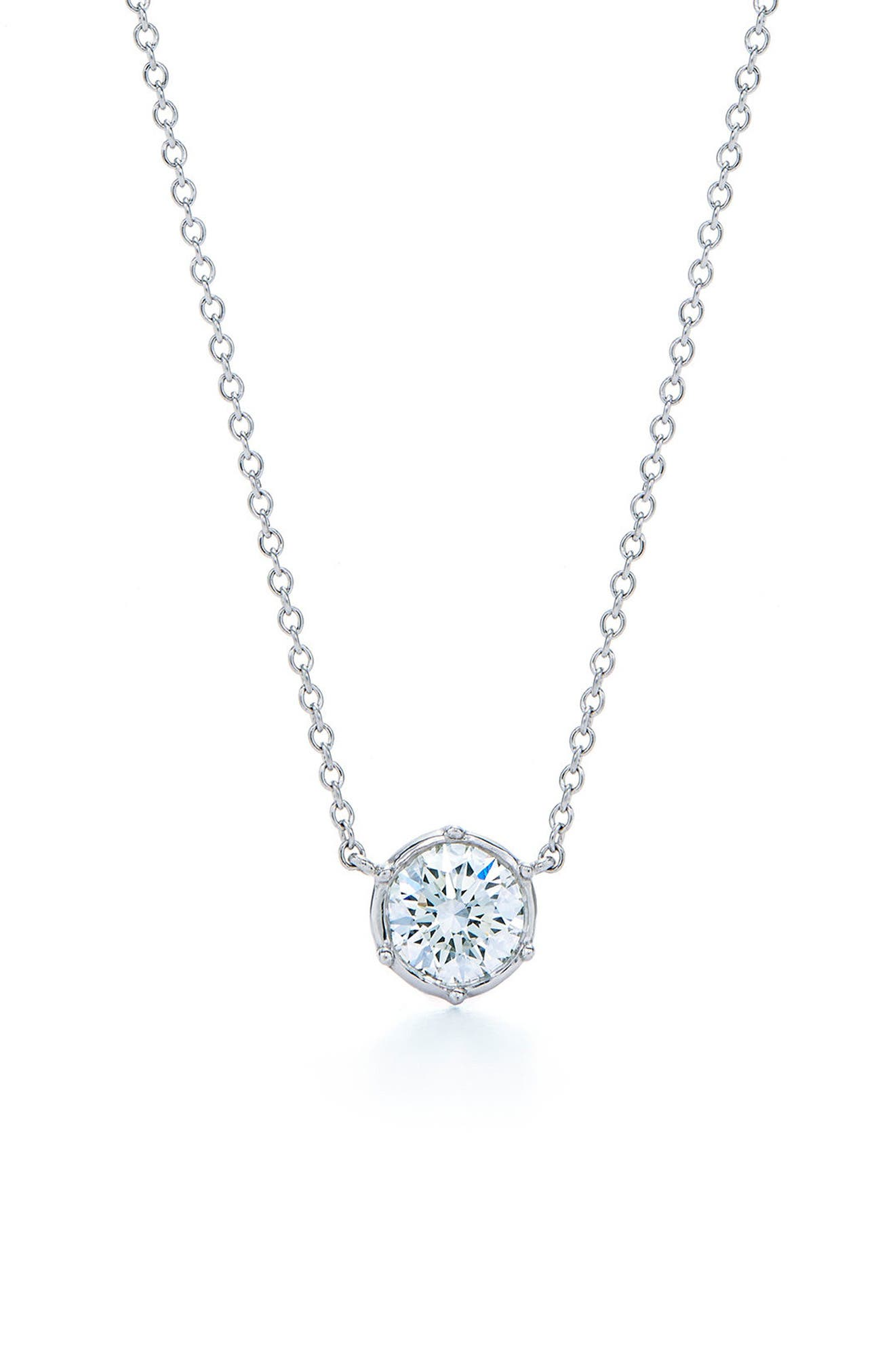 Classic Diamond Bezel Pendant Necklace,                             Main thumbnail 1, color,                             WHITE GOLD