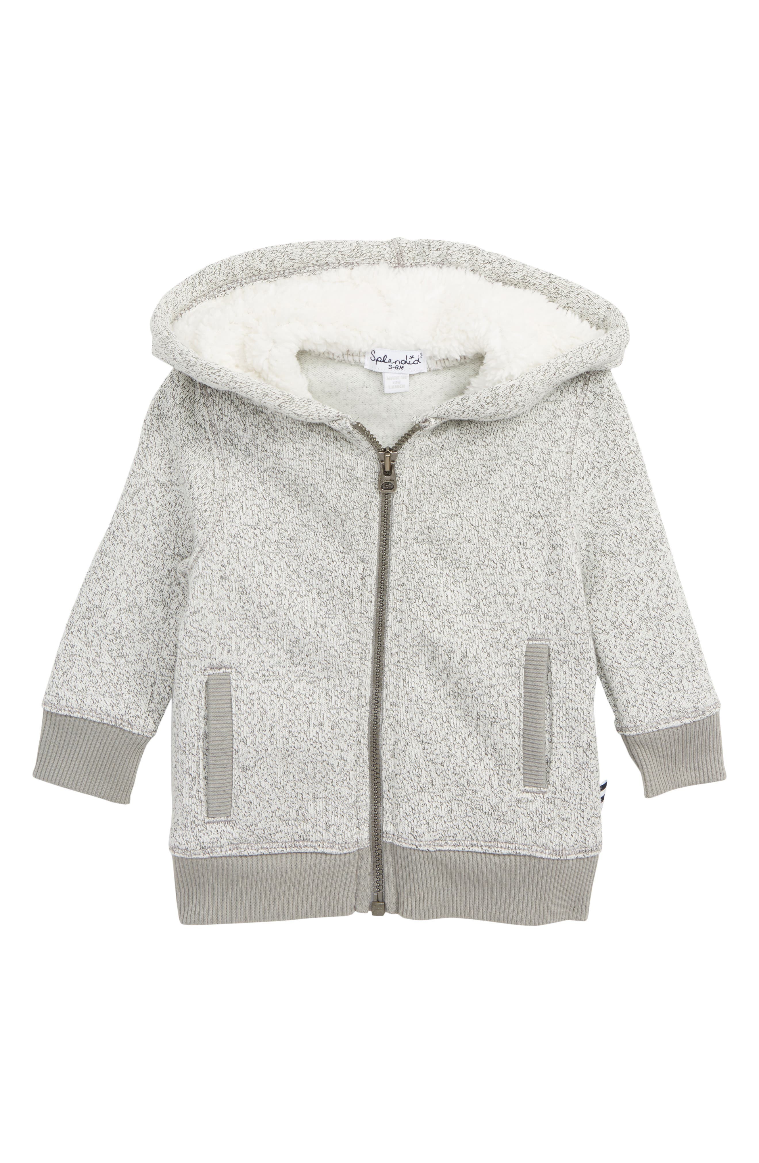 SPLENDID Marled Fleece Full Zip Hoodie, Main, color, FLINT GRAY