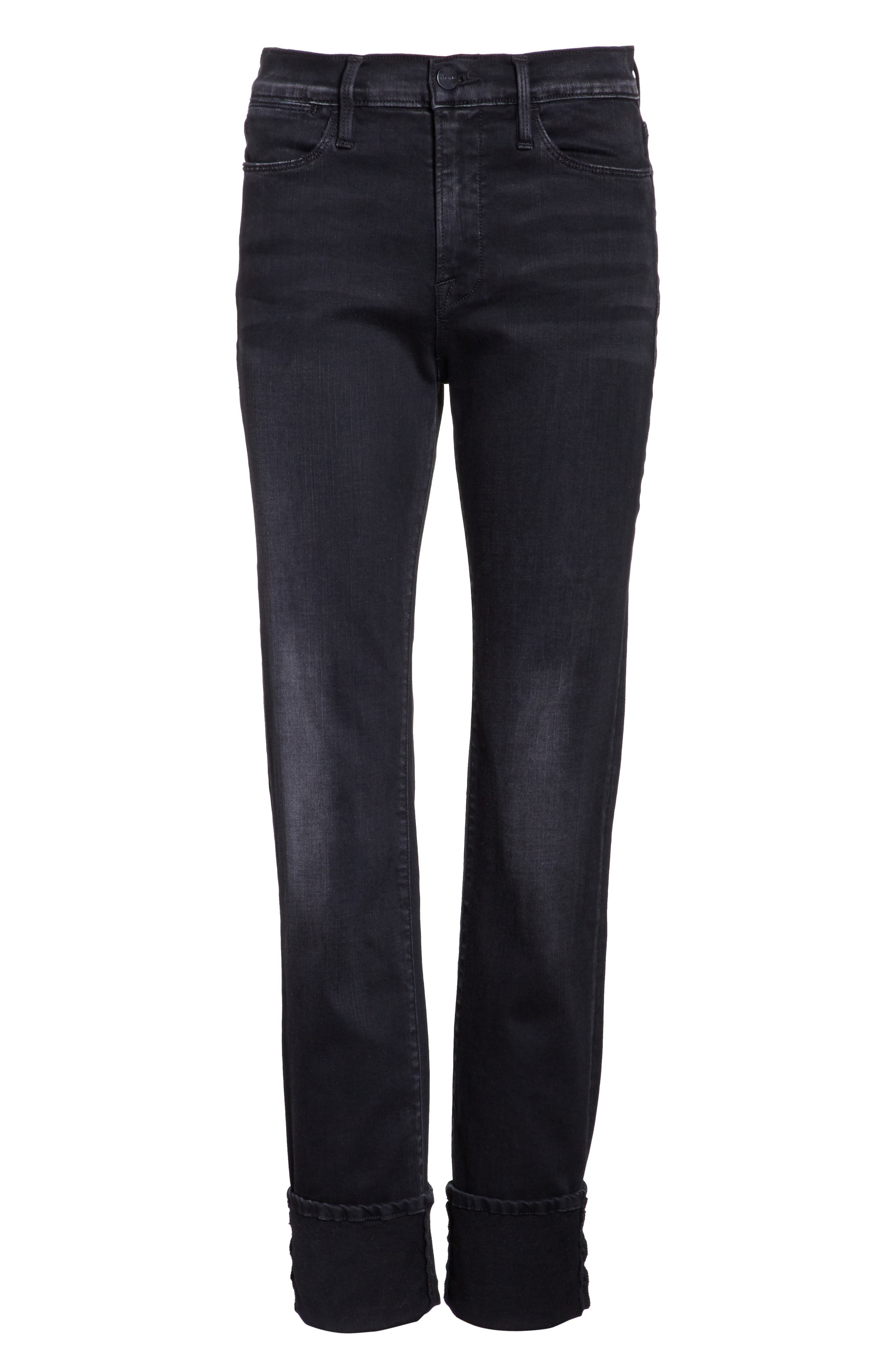 Le High Straight Leg Cuffed Jeans,                             Alternate thumbnail 6, color,                             001