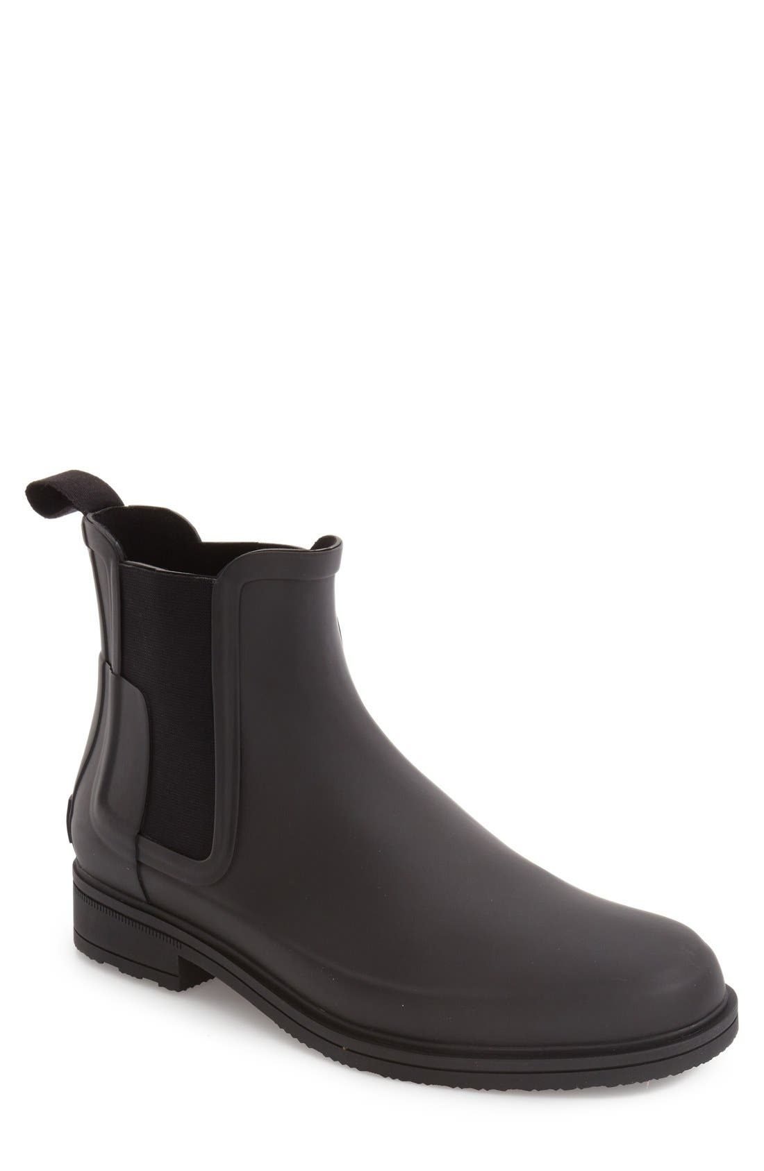 Original Refined Waterproof Chelsea Boot,                         Main,                         color, BLACK RUBBER