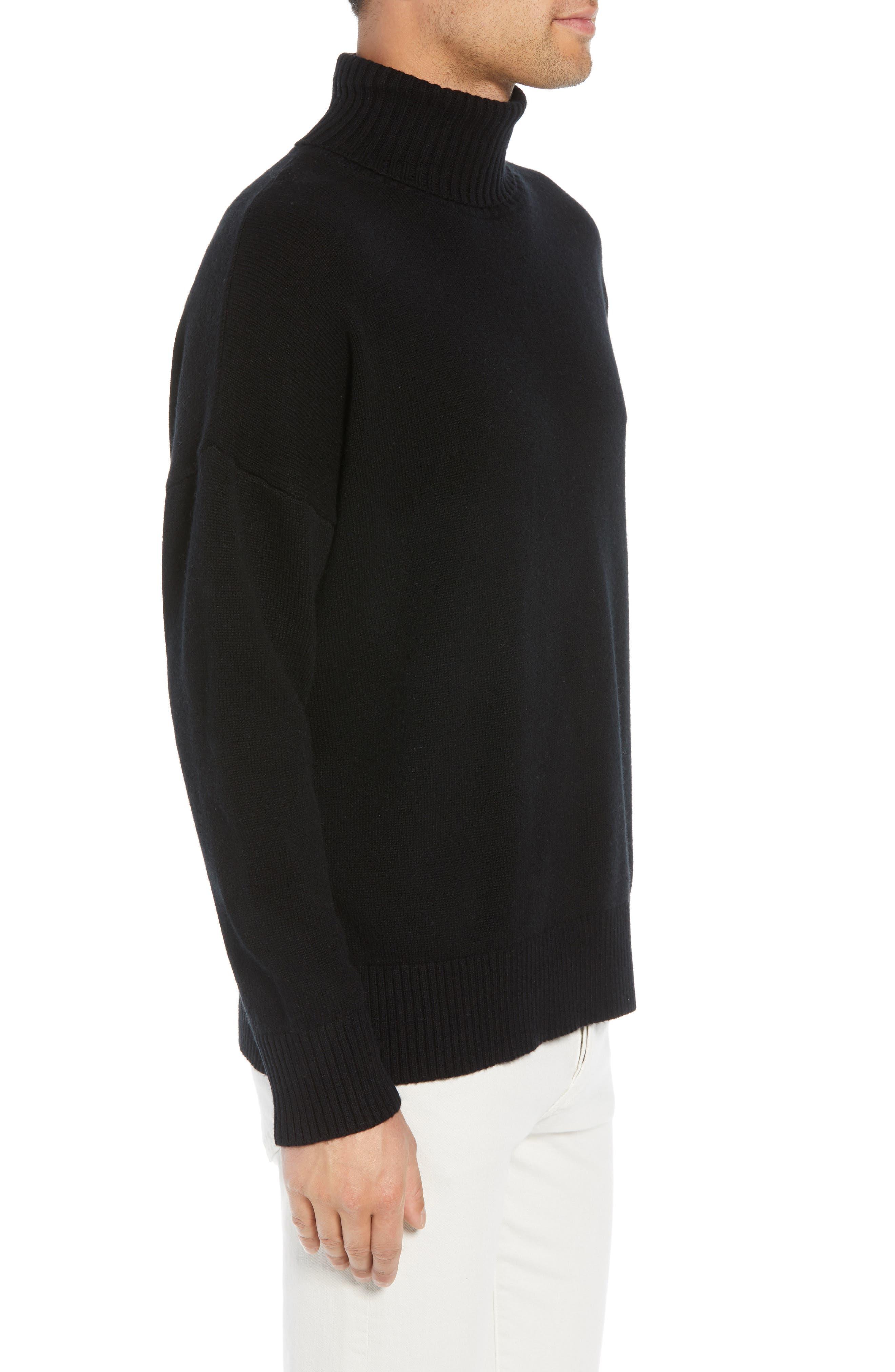 Wool & Cashmere Turtleneck Sweater,                             Alternate thumbnail 3, color,                             BLACK