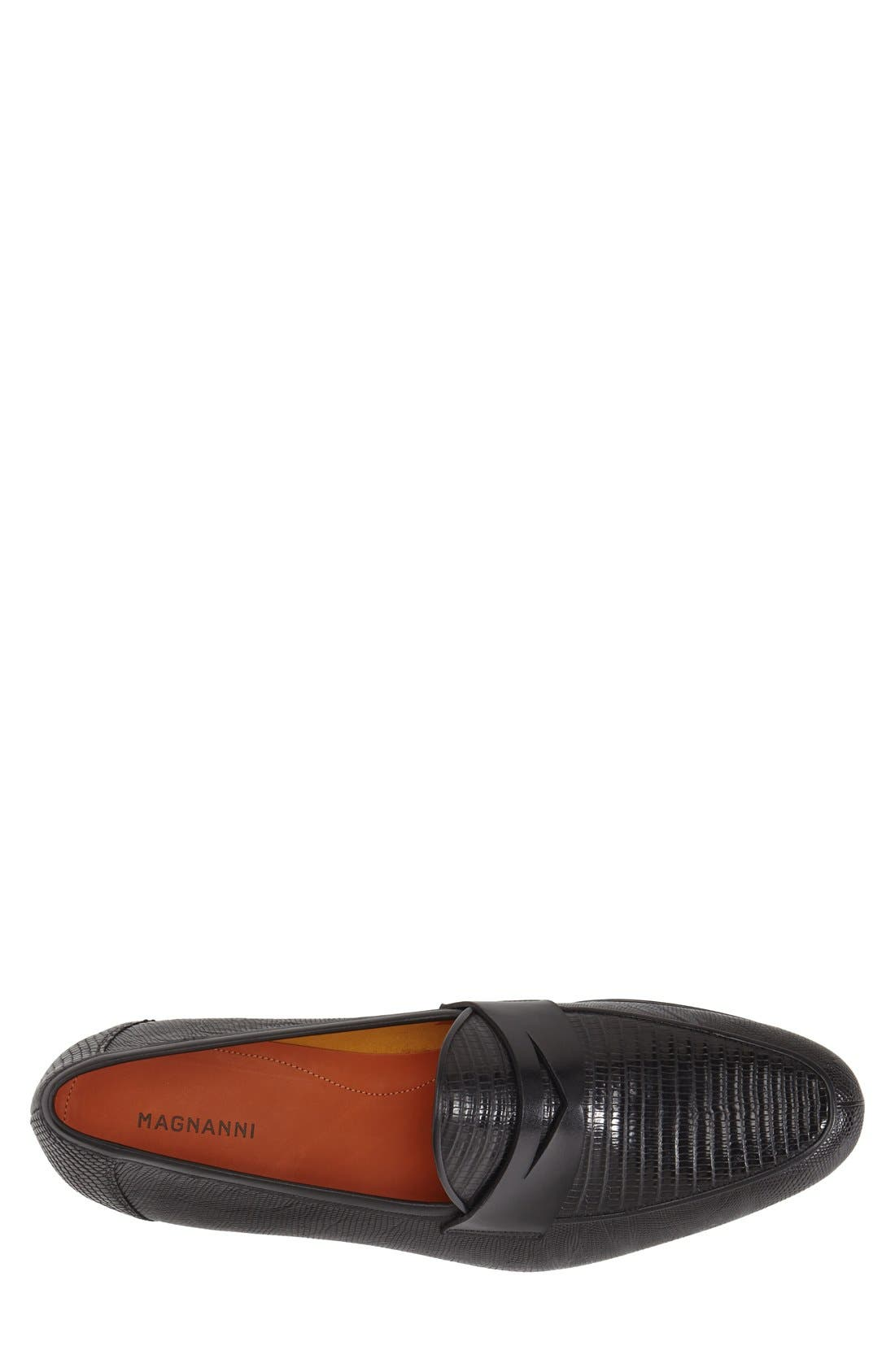 'Camerino' Lizard Penny Loafer,                             Alternate thumbnail 3, color,                             001