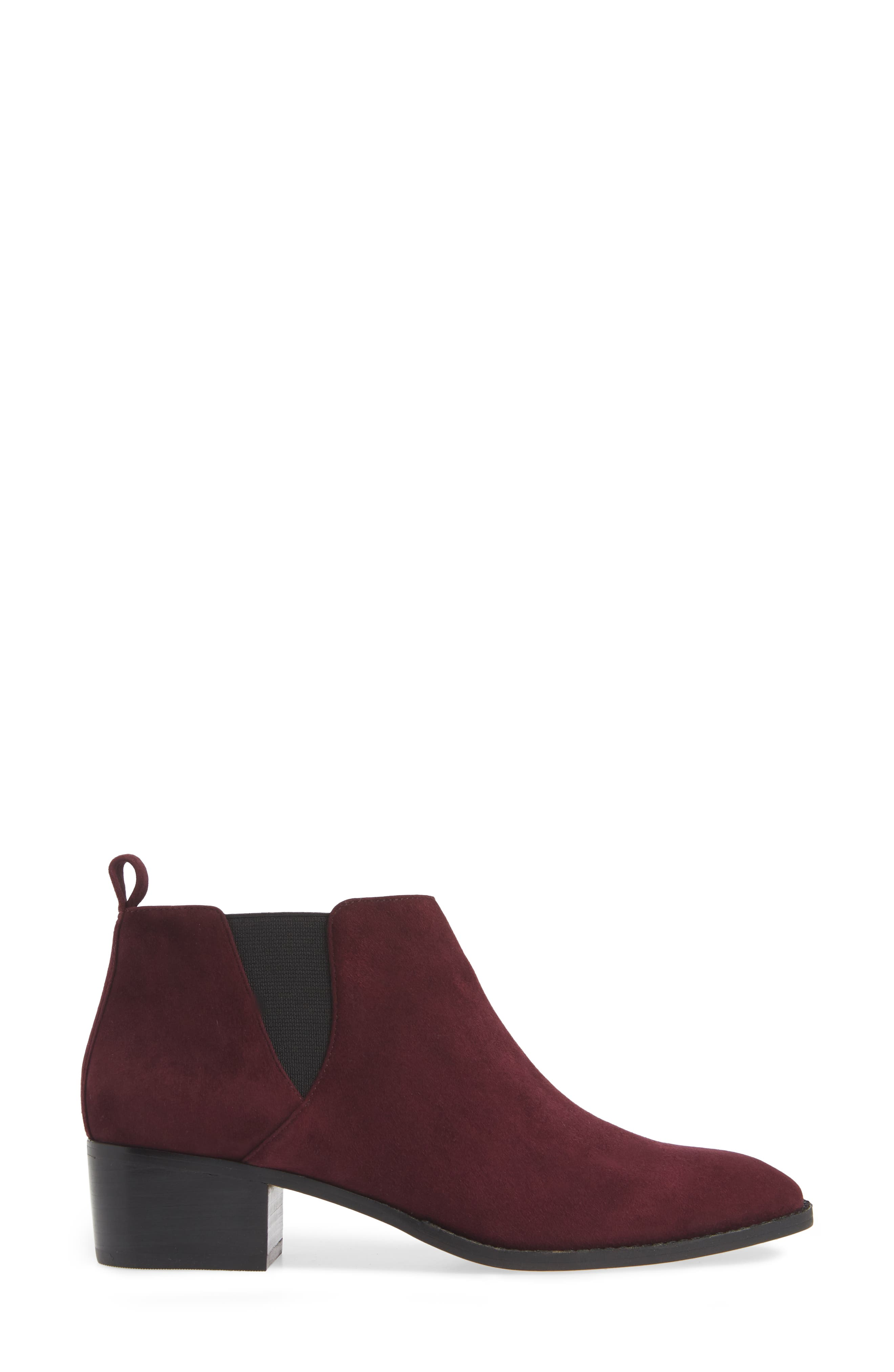 Jahlily Chelsea Bootie,                             Alternate thumbnail 3, color,                             DARK PLUM SUEDE