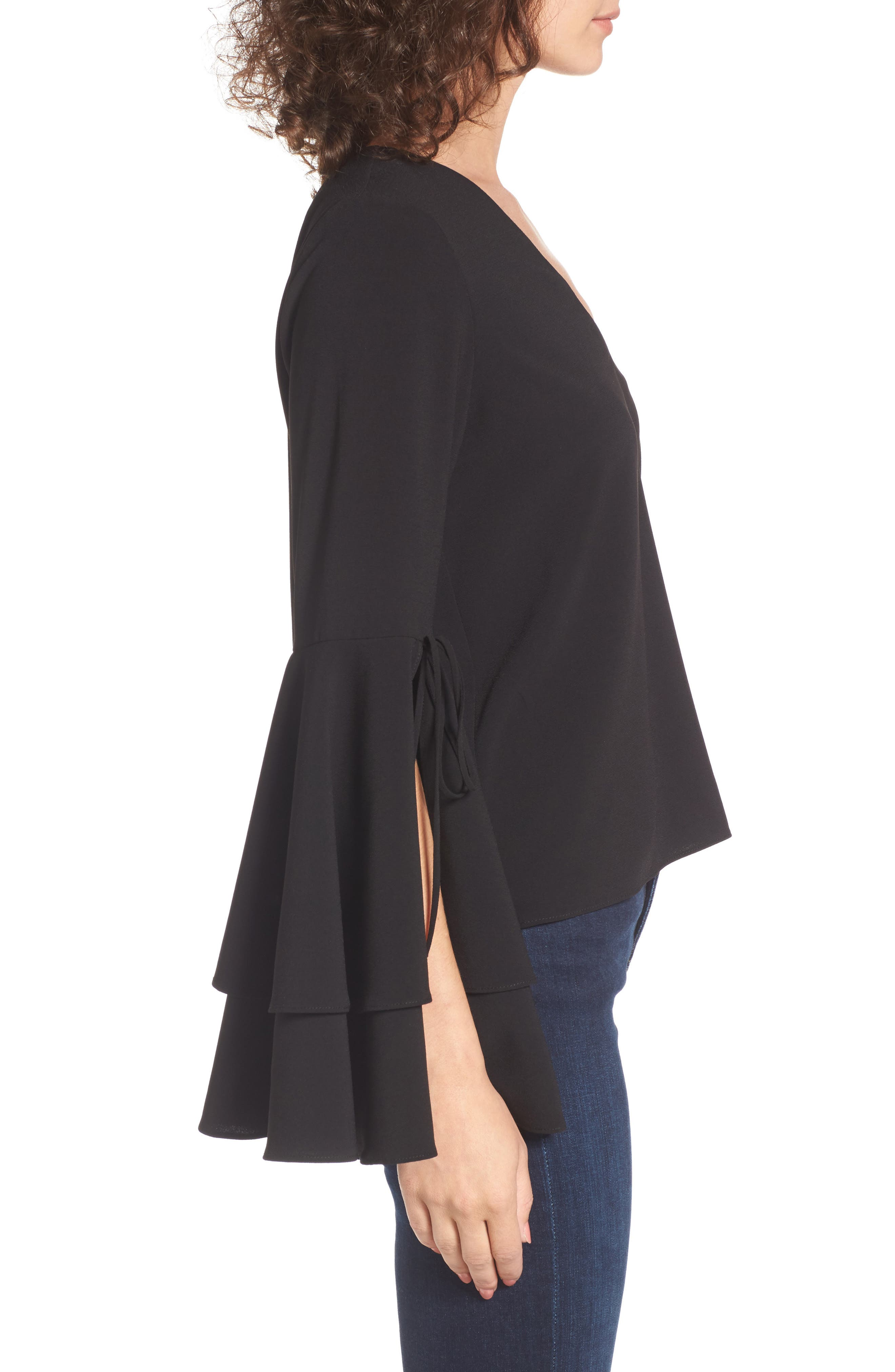 Ruffle Bell Sleeve Top,                             Alternate thumbnail 3, color,                             001